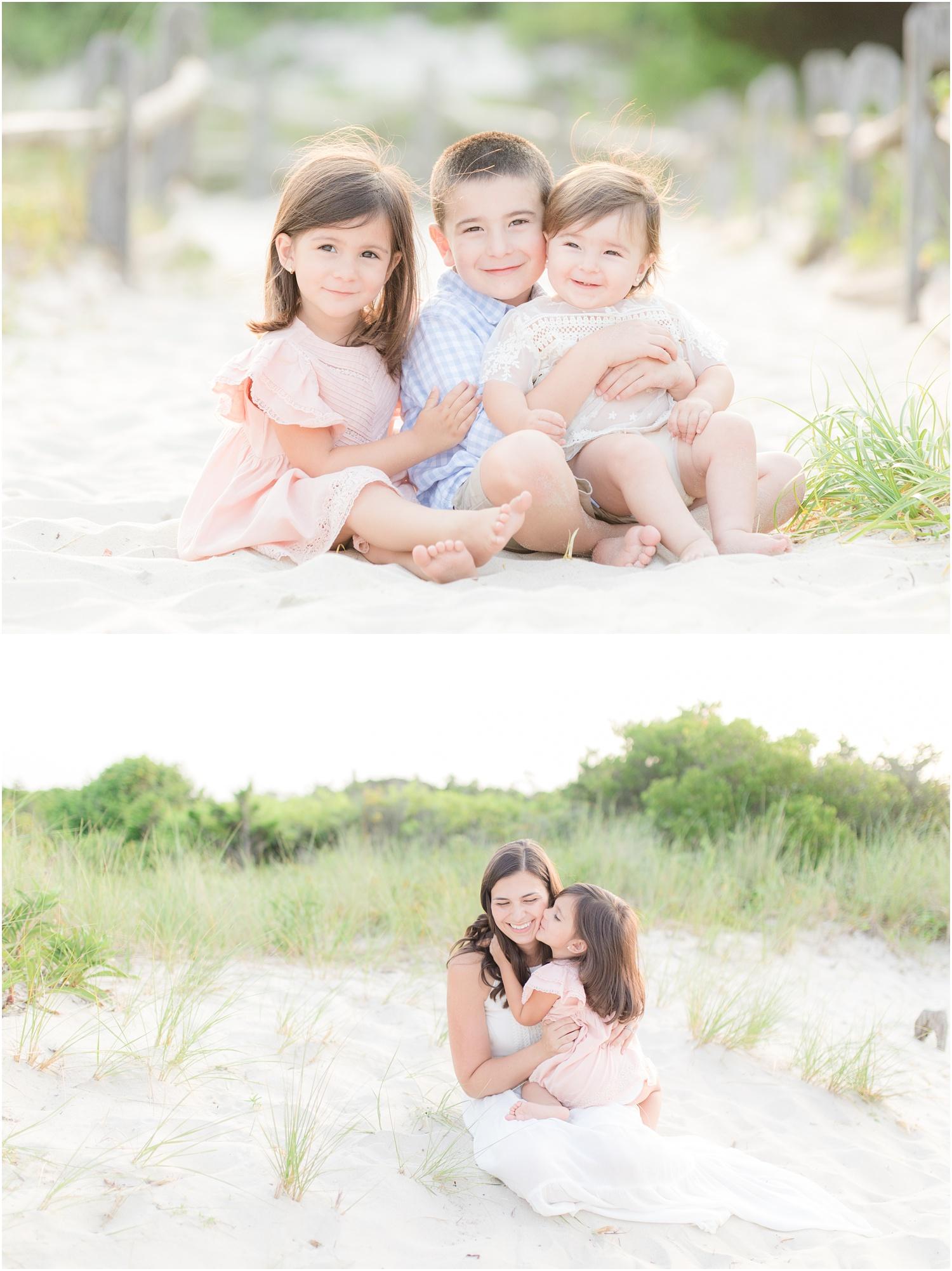 laid back family beach photos in Island Beach State Park.