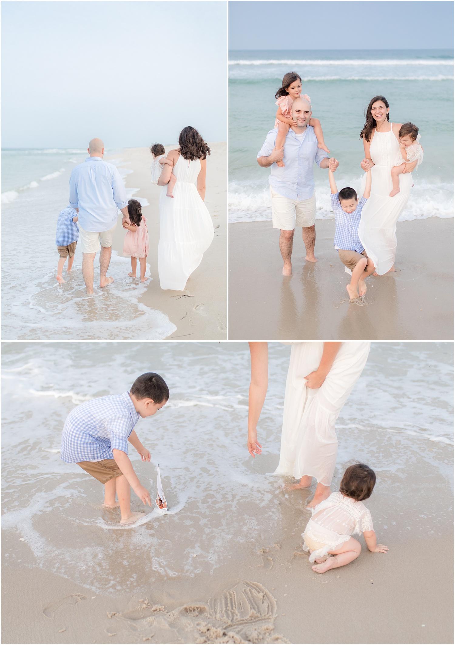 playful family photos on the beach in Seaside Park.