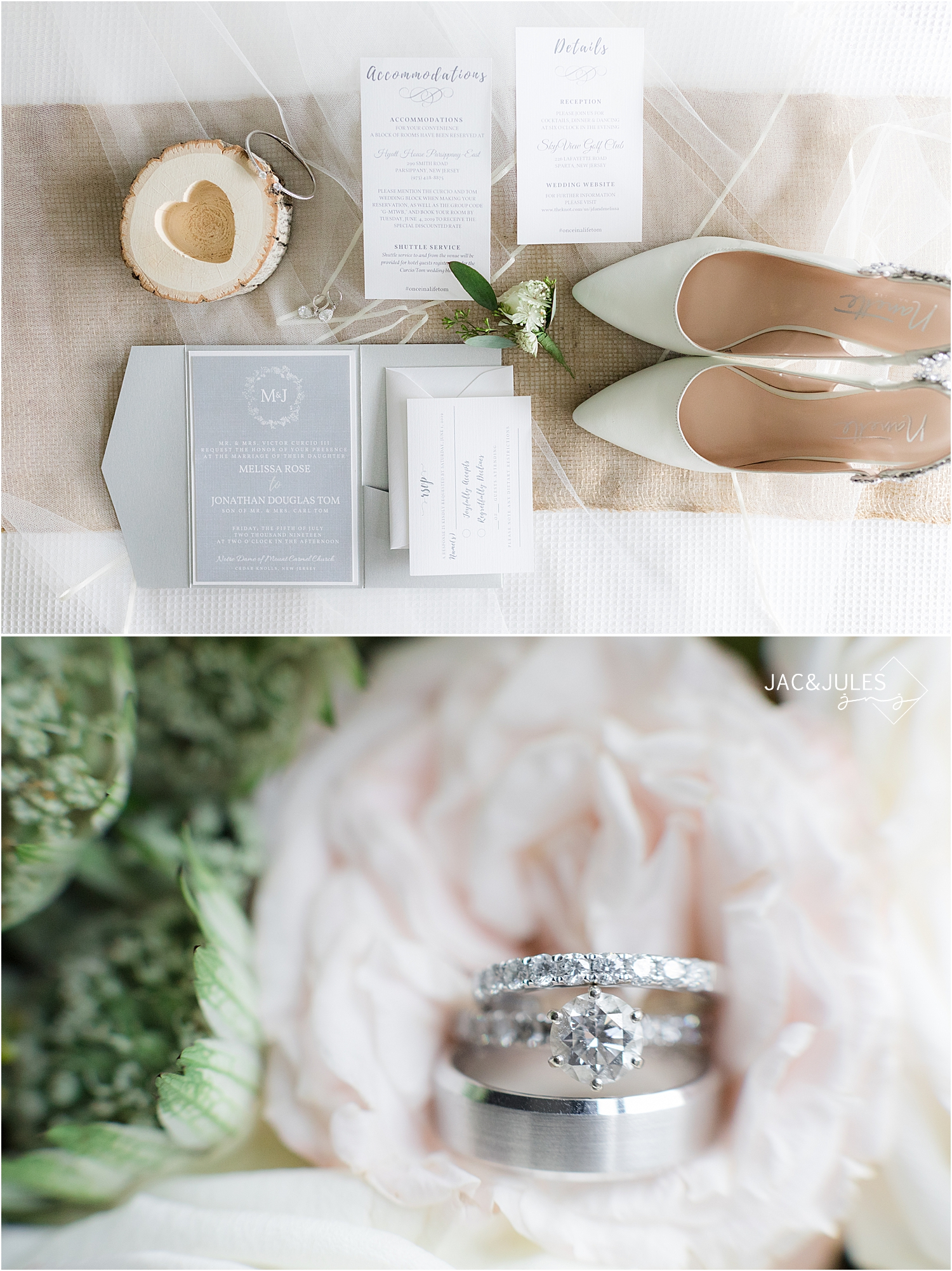 rustic new jersey wedding details invitation rings