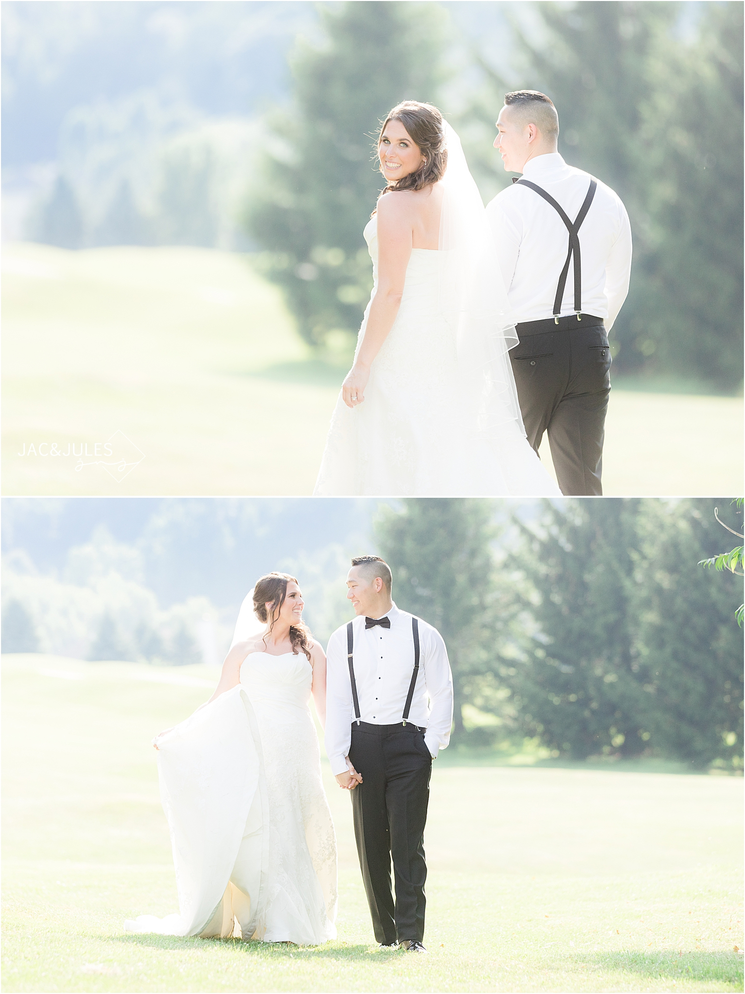 romantic bride and groom photo in natural light at Skyview Golf Club wedding