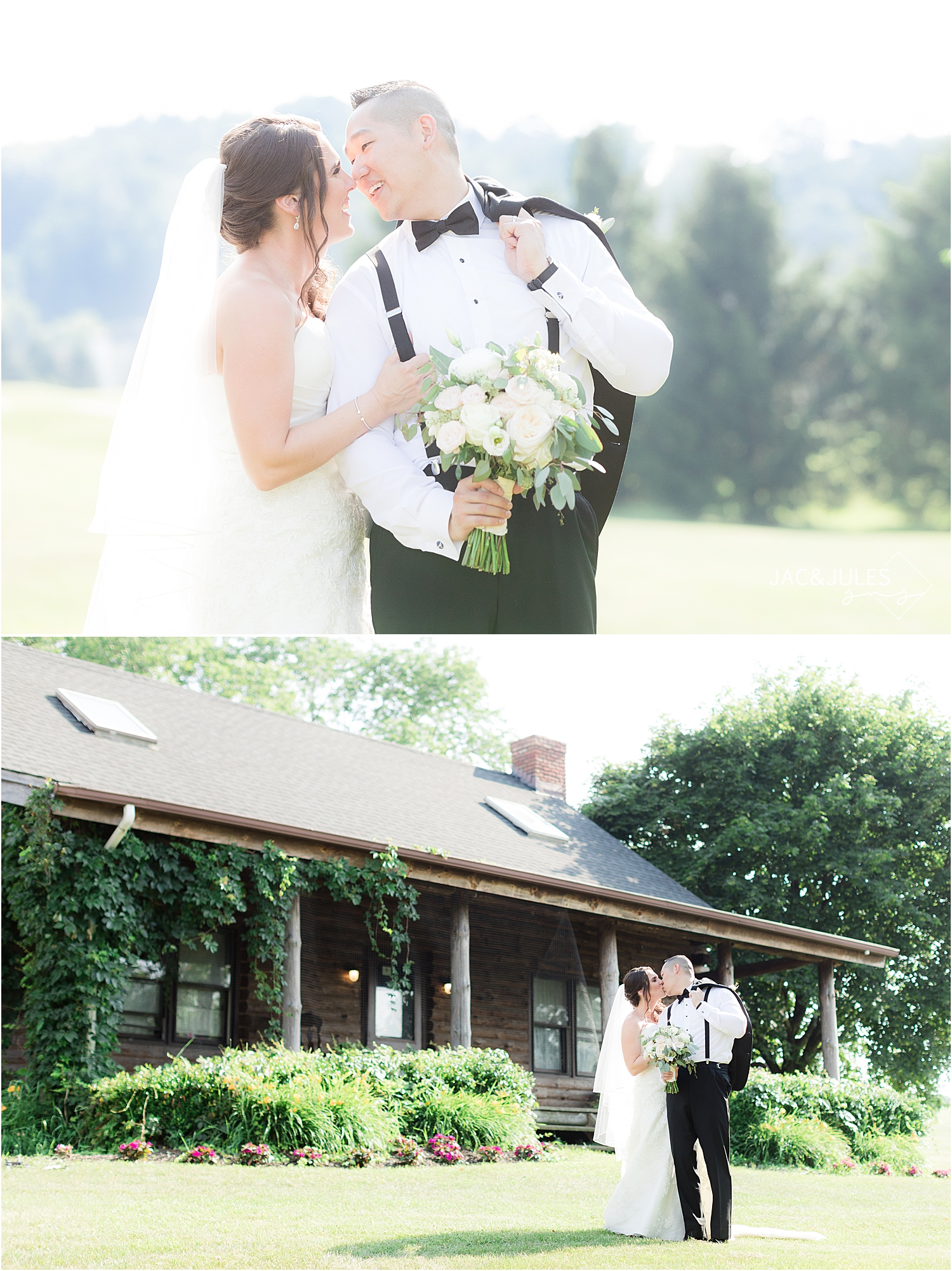Wedding portraits in natural light at Skyview Golf Club in North Jersey