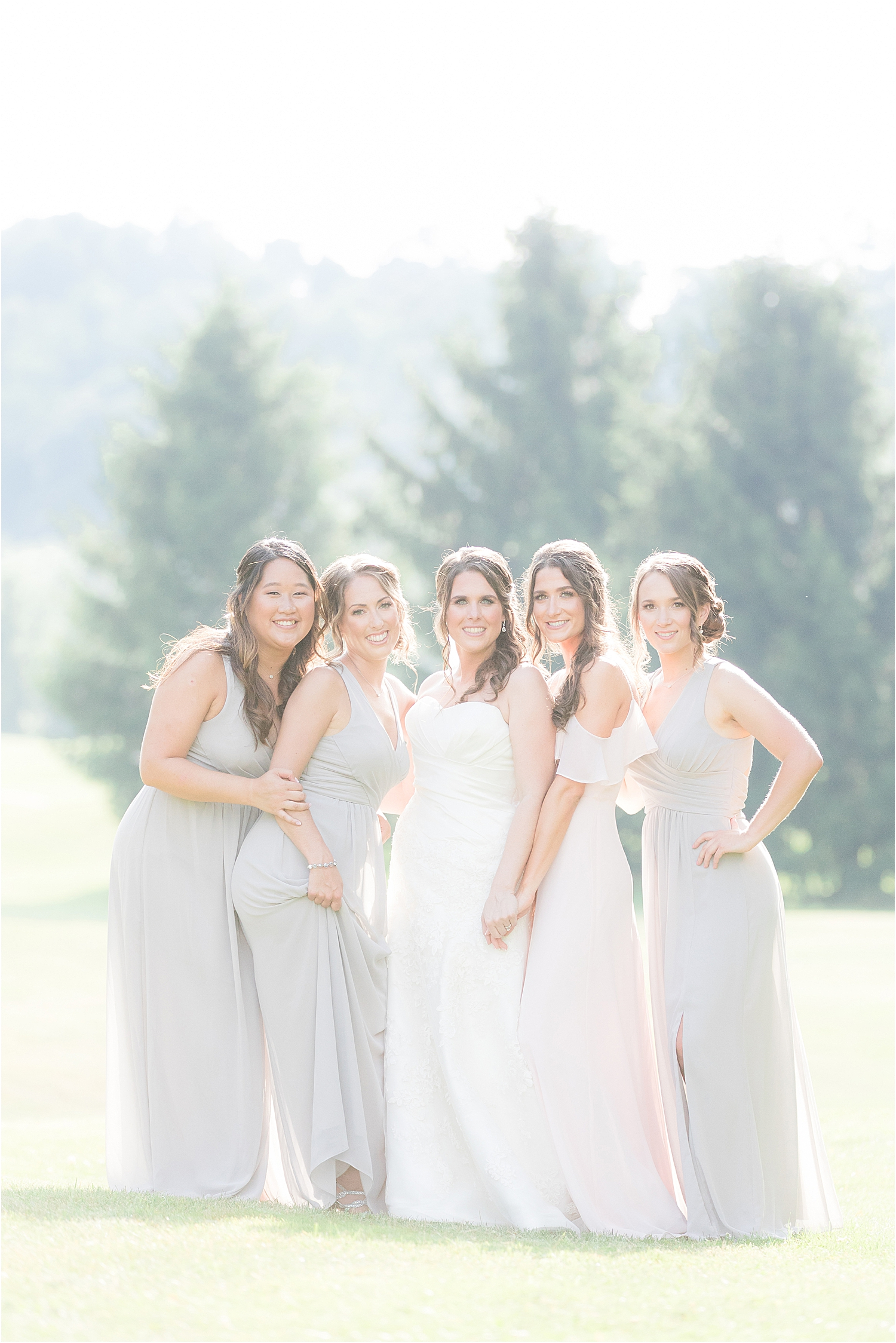 beautiful bridesmaids in natural light at Skyview Golf Club wedding in North Jersey