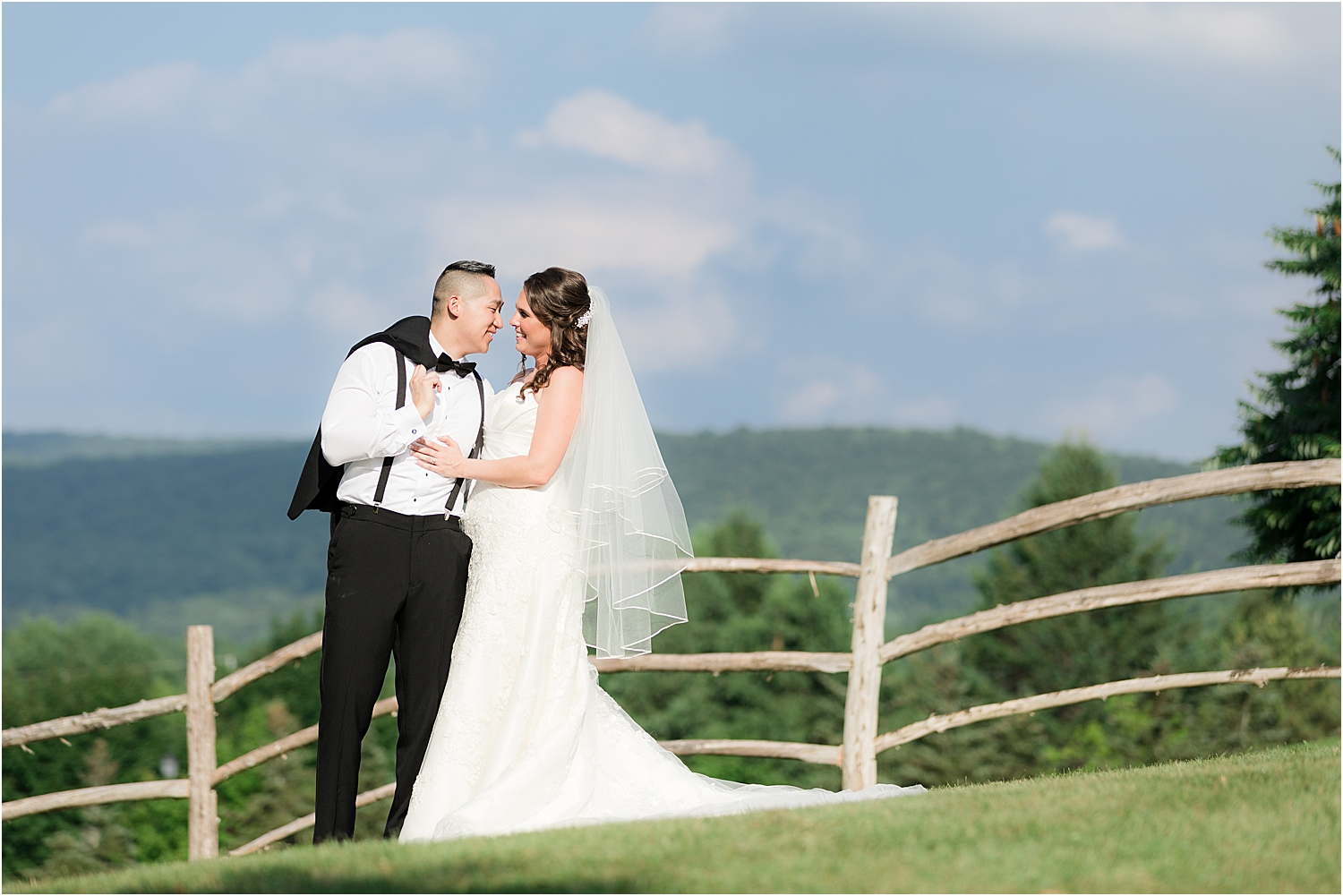 scenic wedding photo of bride and groom with blue skies at Skyview Golf Club wedding