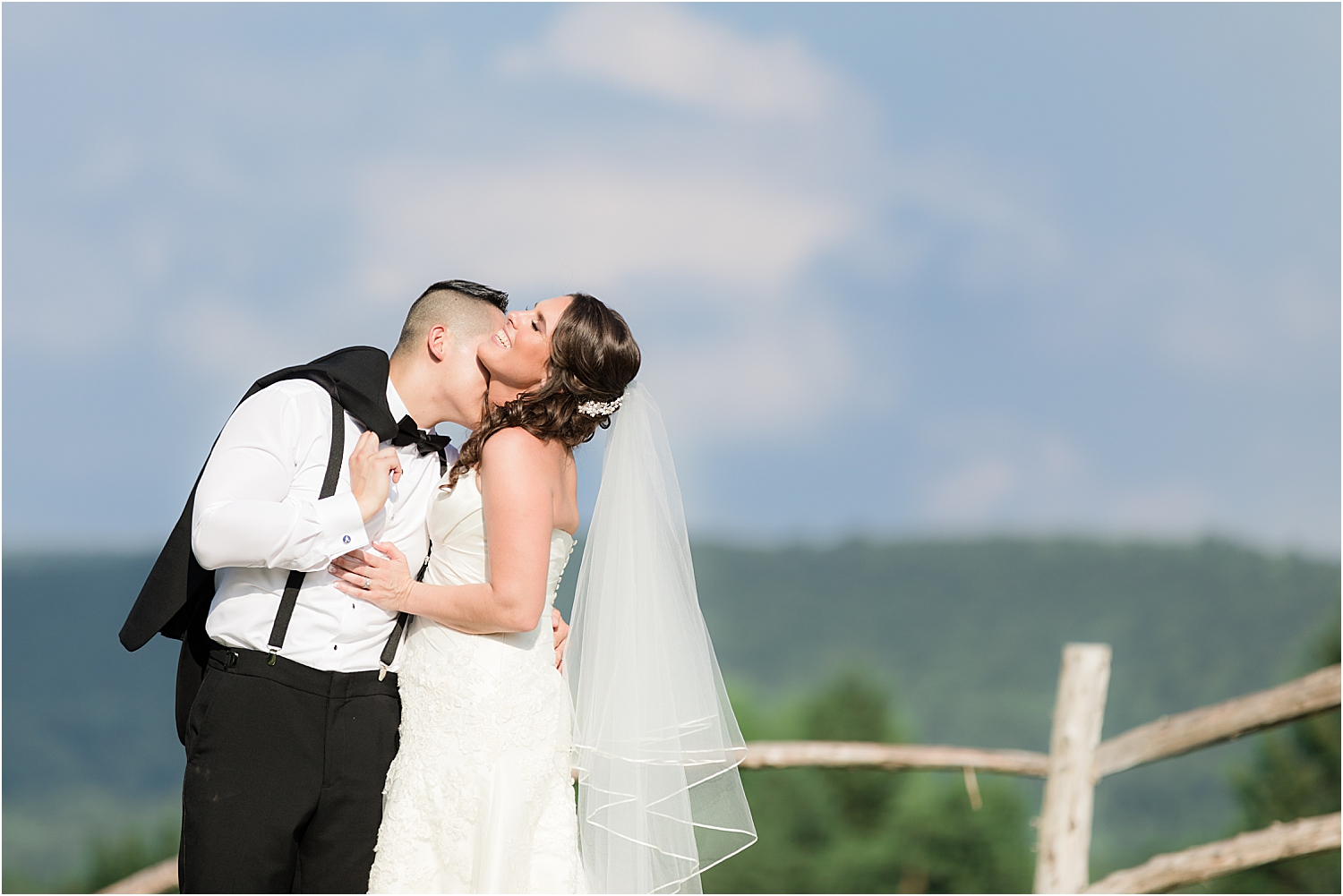 scenic wedding photo of bride and groom at Skyview Golf Club