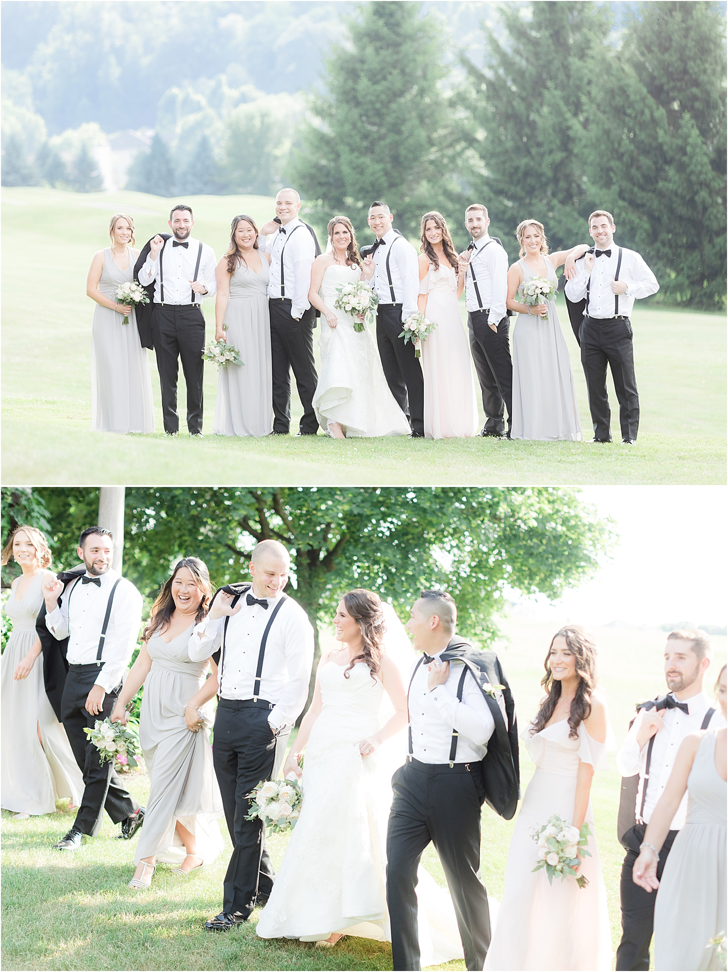 fun bridal party photo at Skyview Golf Club wedding in North Jersey