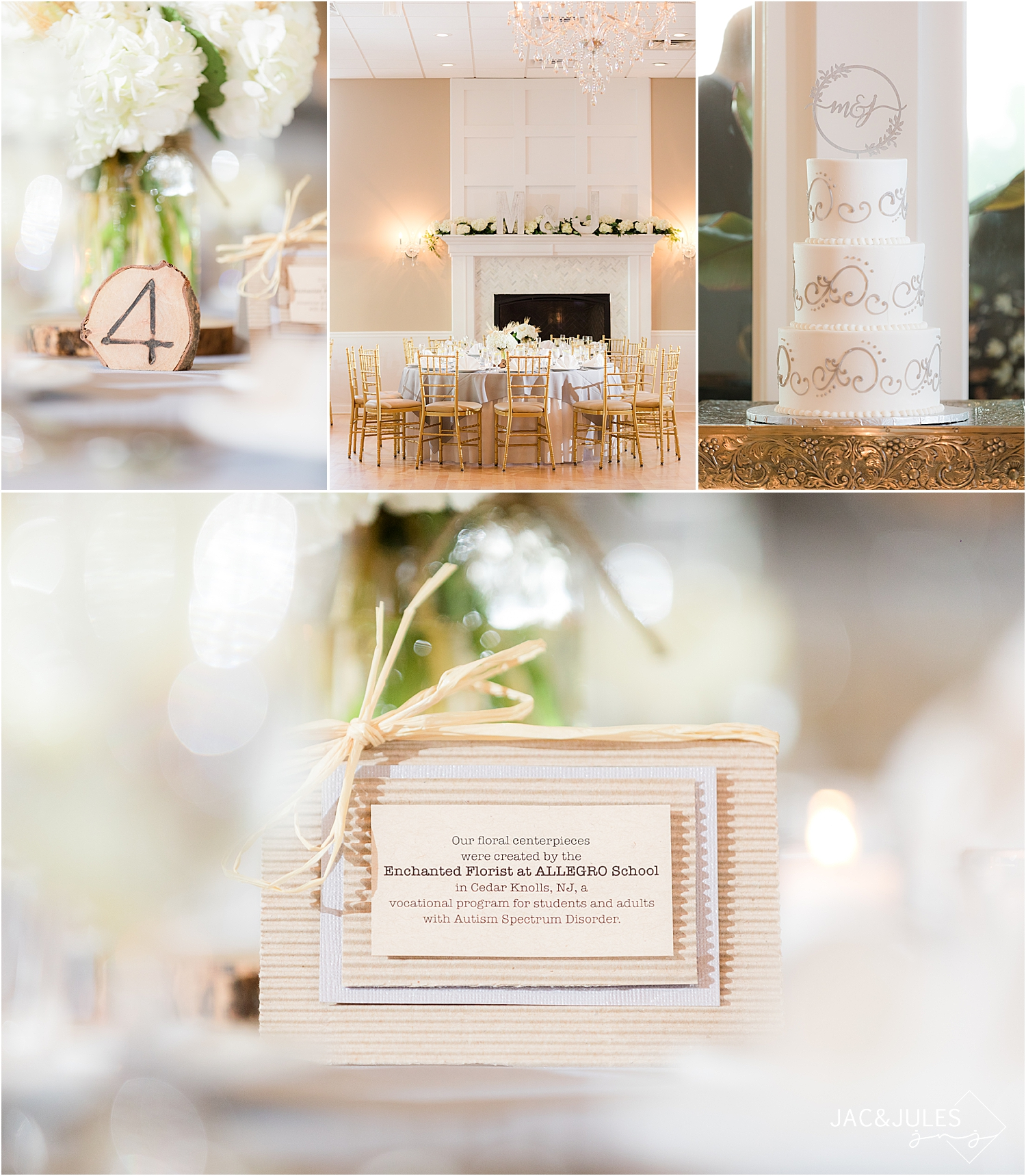 rustic wedding details at a wedding reception at Skyview Golf Club in North Jersey