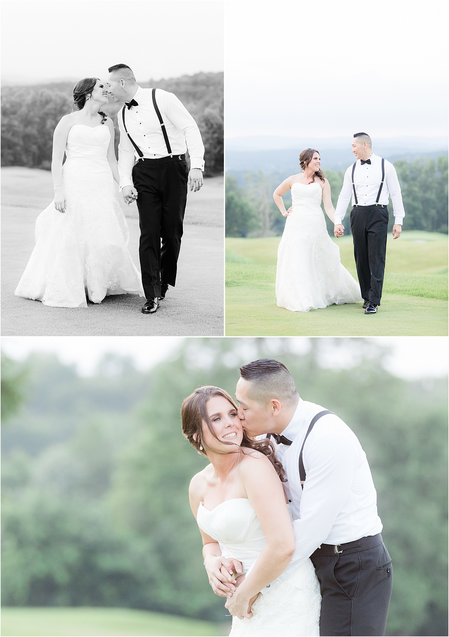 light and airy photo of bride and groom at sunset at Skyview Golf Club wedding