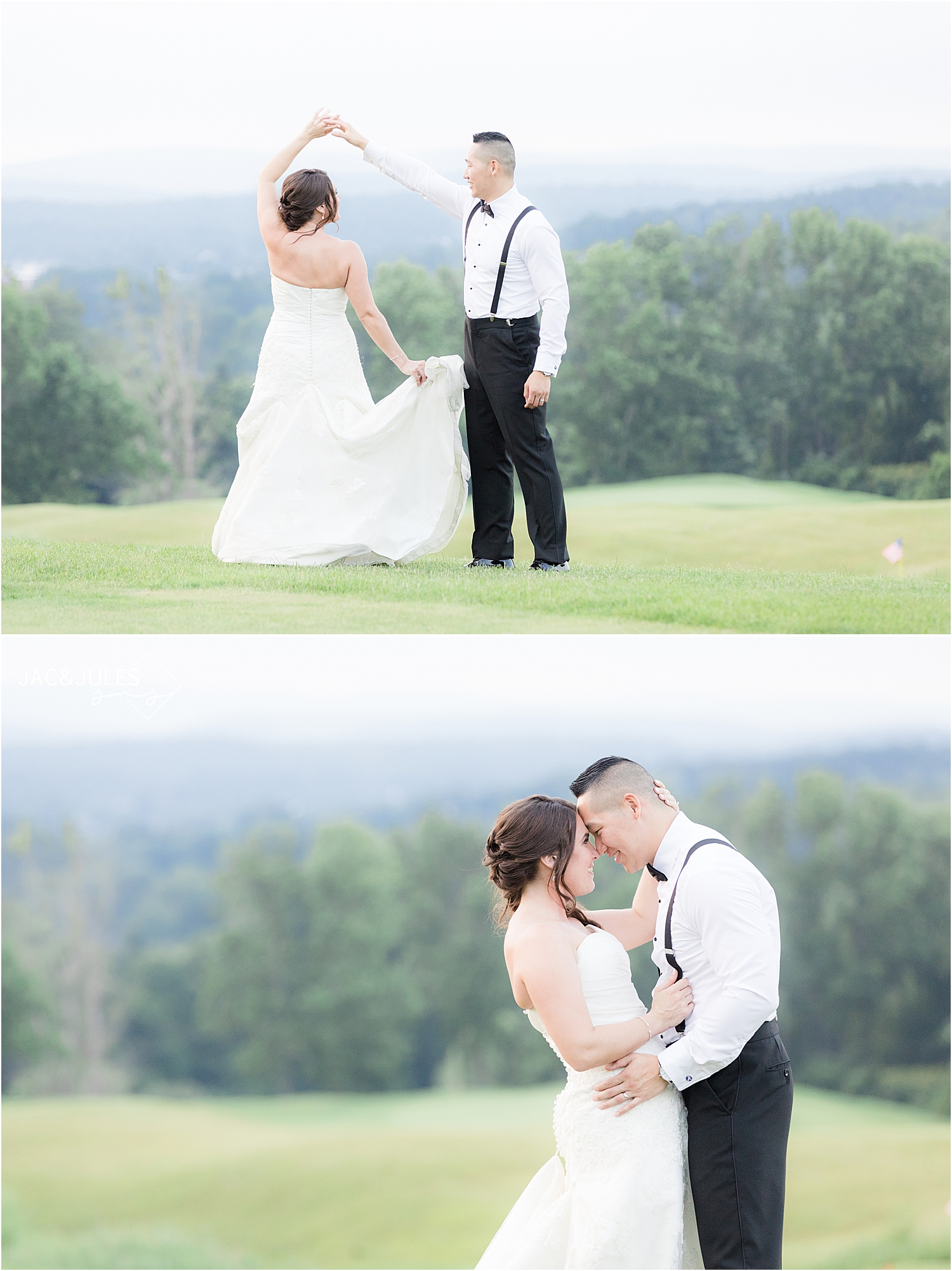bride and groom portraits at sunset at Skyview Golf Club wedding