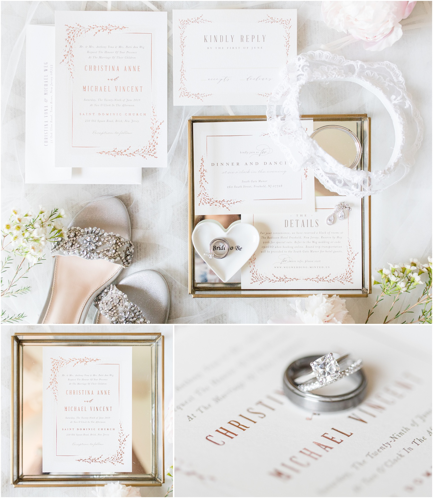 Wedding invitations and bridal accessories for South Gate Manor Wedding.