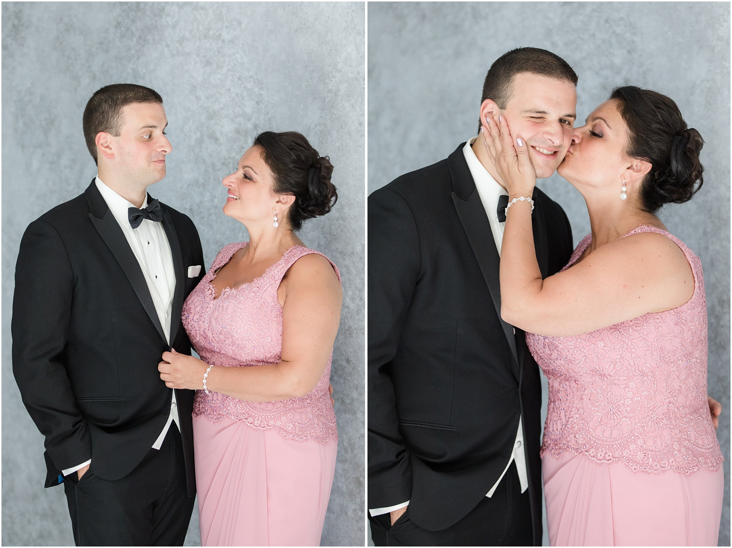 The groom having fun with his mom before the wedding ceremony in Toms River, NJ.