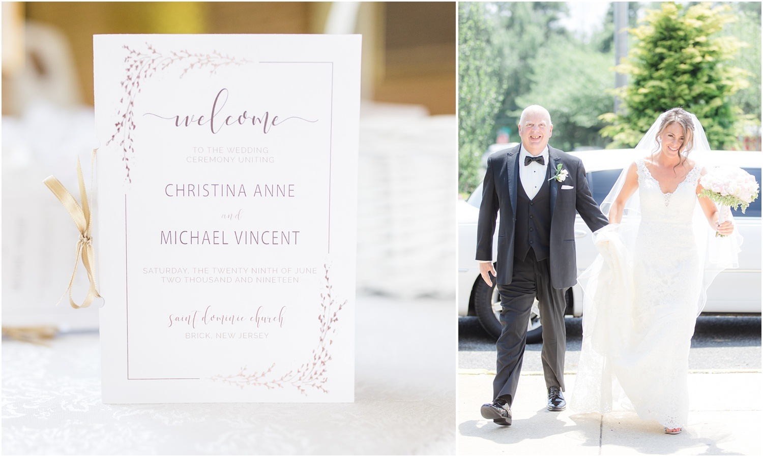 Wedding program and dad helping bride out of the limo at her wedding ceremony.
