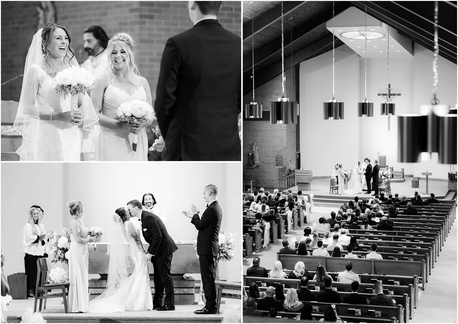 Black and white wedding ceremony photos at St. Dominic's in Brick