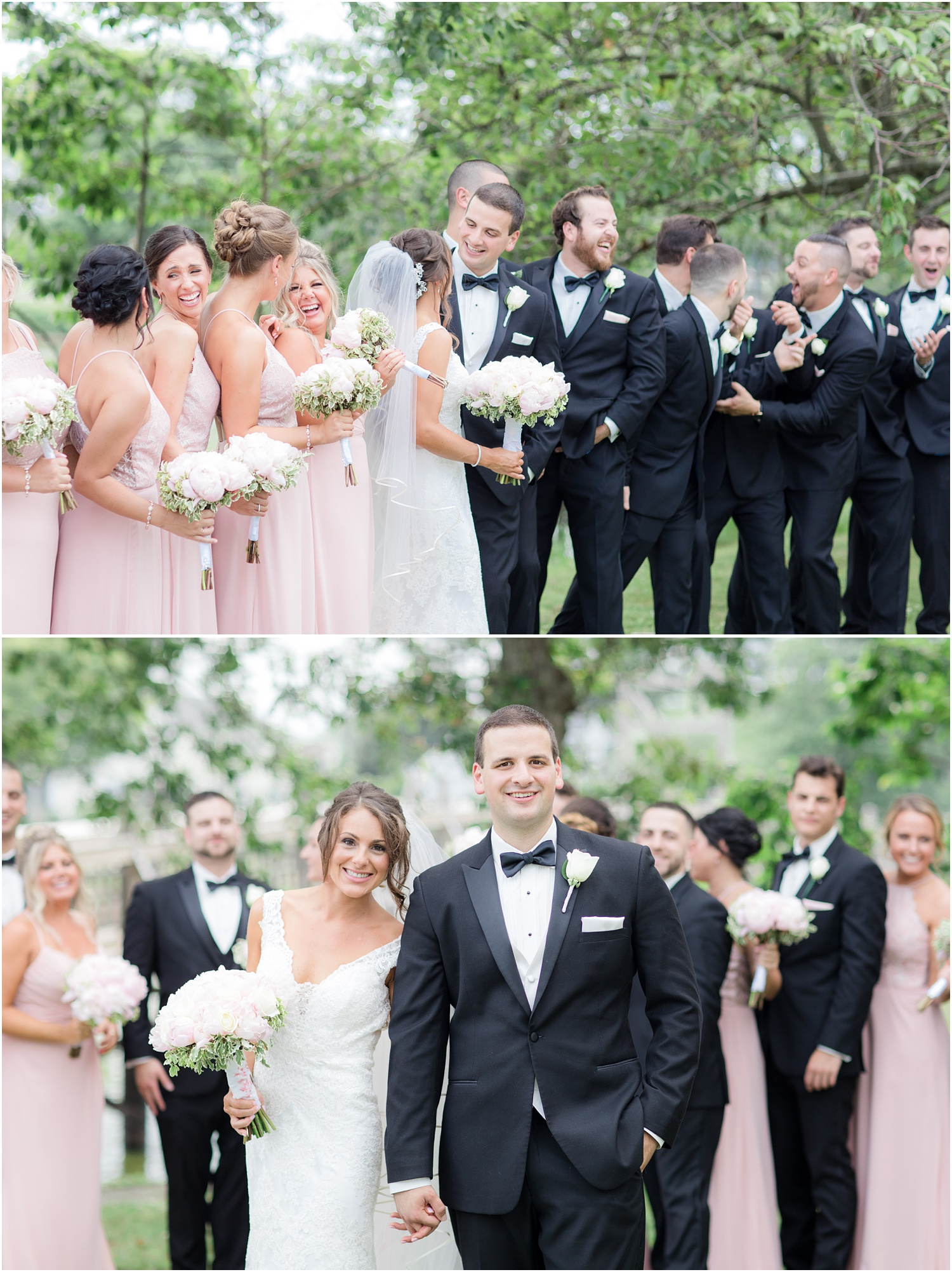 Fun photo with bridal party at Divine Park in Spring Lake