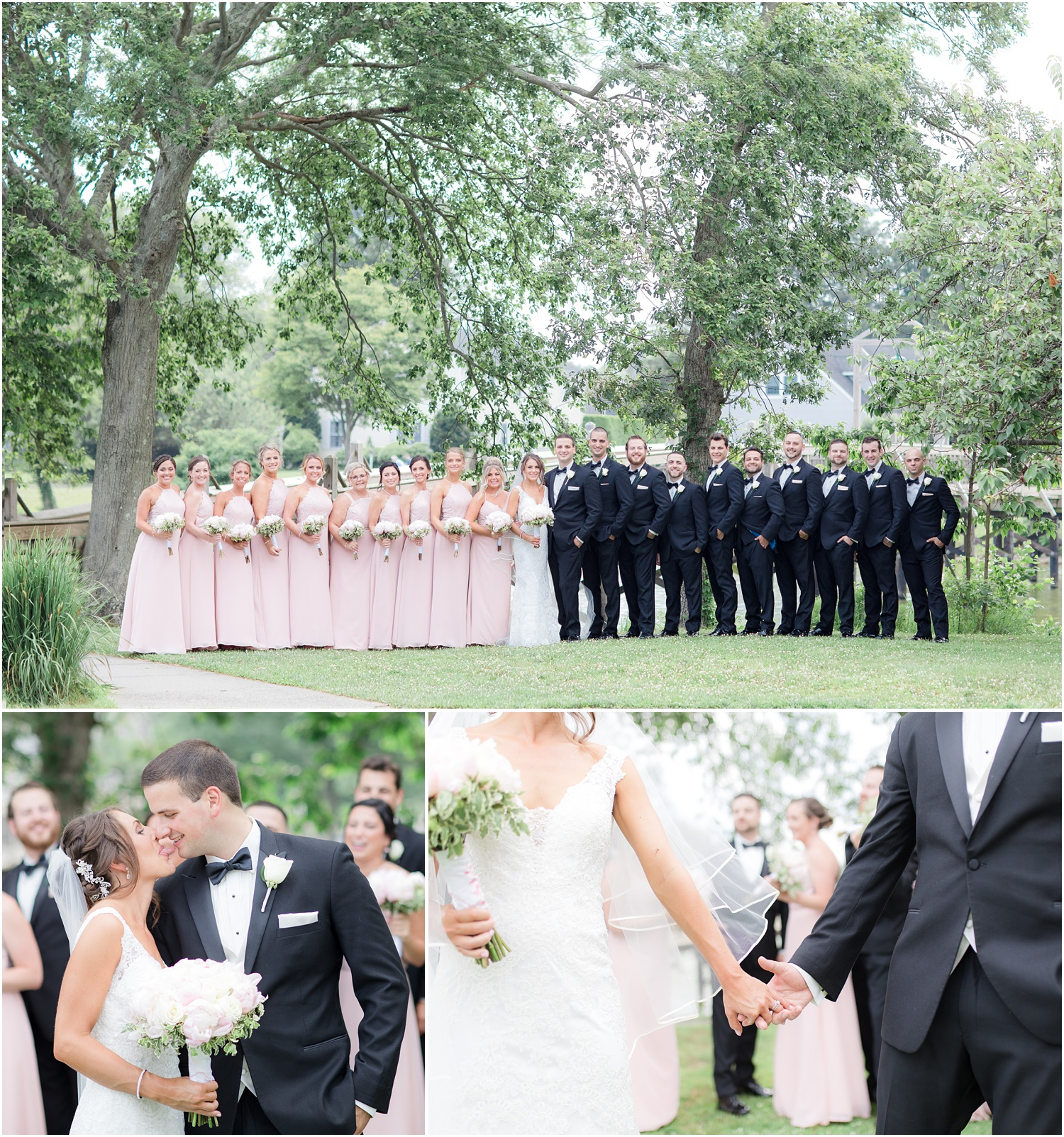 Large bridal party photo at Divine Park in Spring Lake
