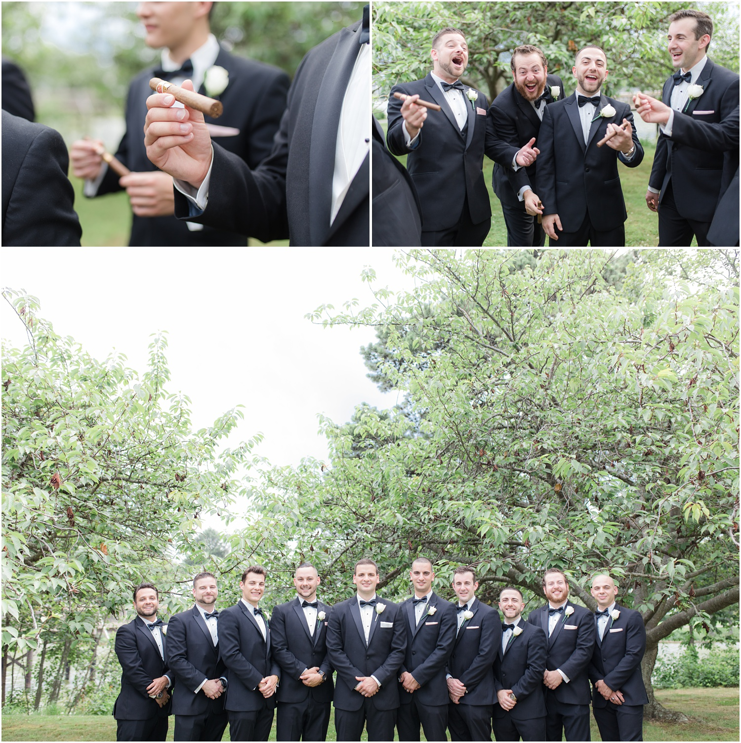 Groomsmen having fun with cigars at a park in Spring Lake