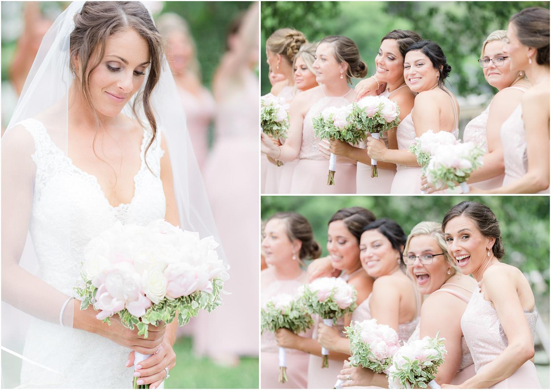 bridesmaids in pink at Spring Lake Wedding.