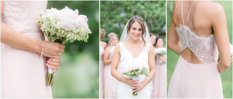 detail photos of pink bridesmaid dress.