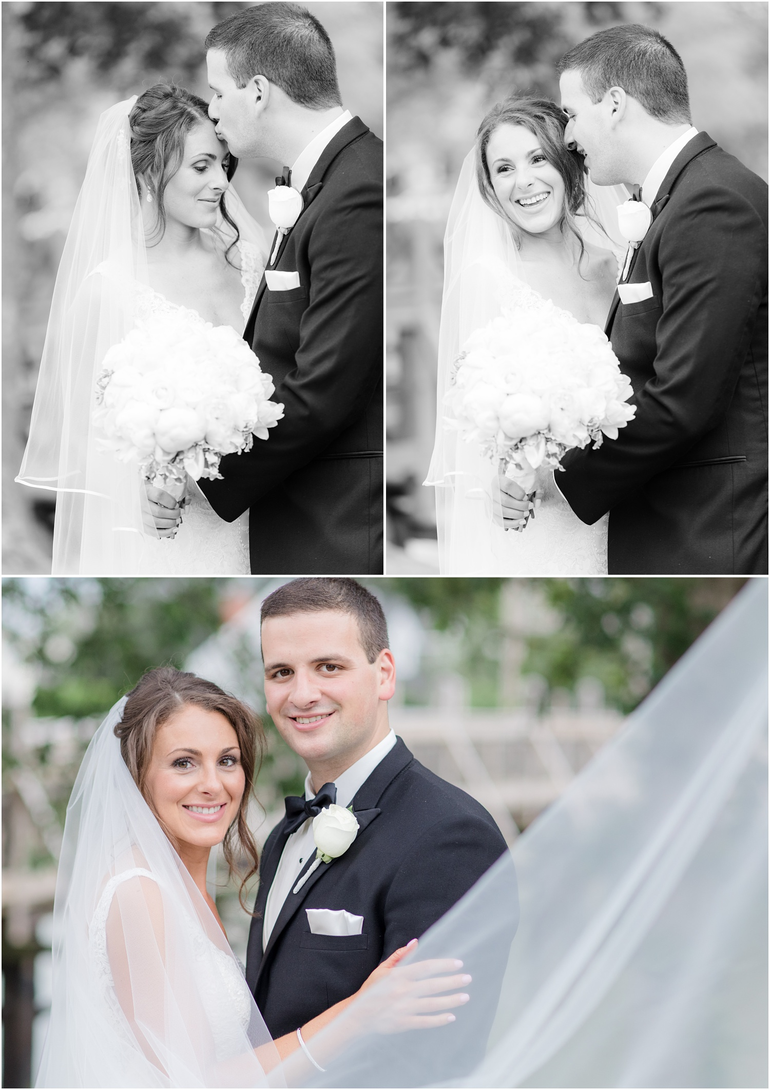 Classic elegant bride and groom portraits in the park.  Spring Lake, NJ.