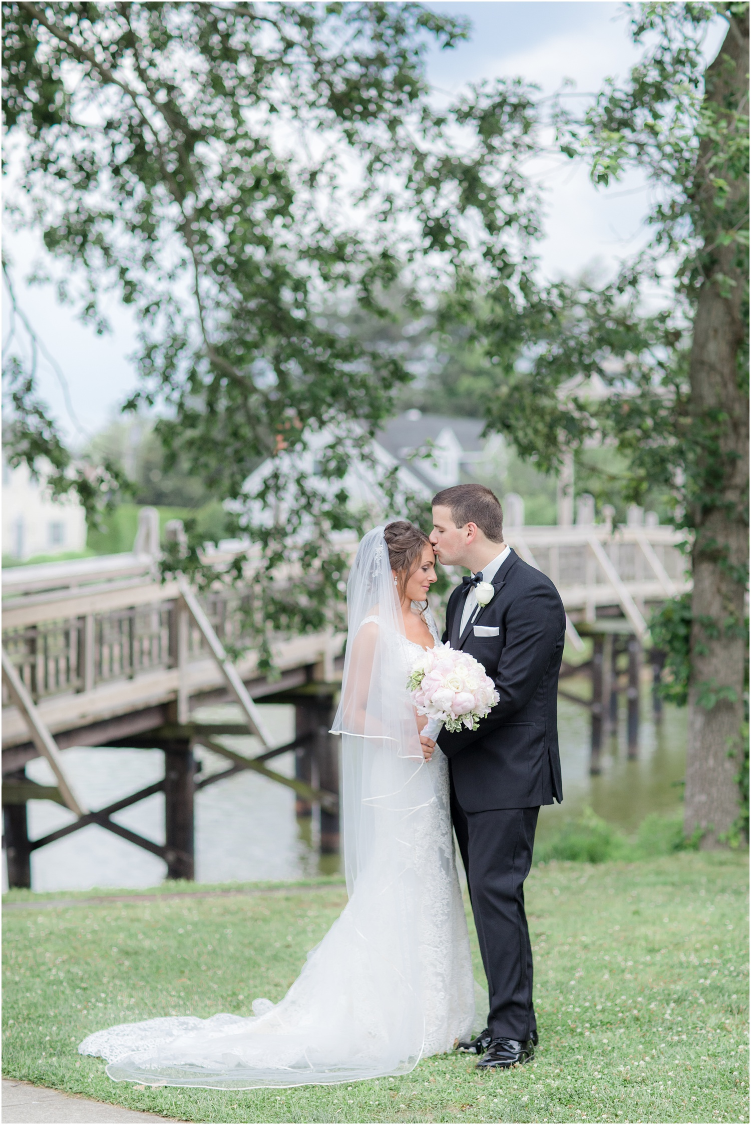 romantic portrait in the park of newlywed couple in Spring Lake, New Jersey