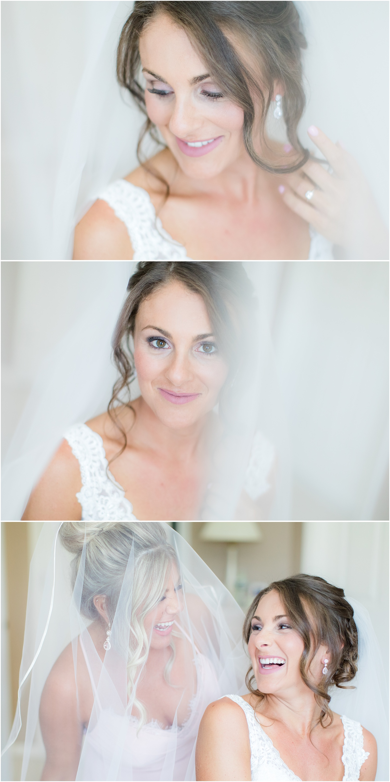 Bridal photos with veil while getting ready in Brick, NJ.
