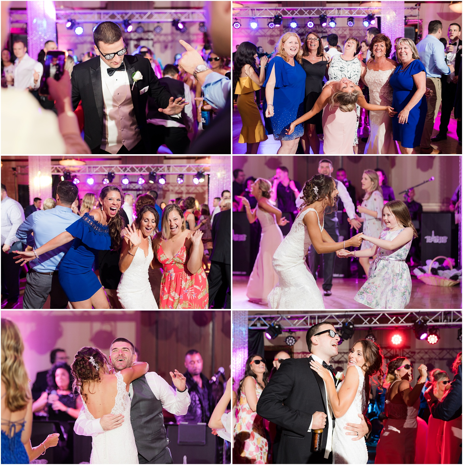 Fun and wild wedding reception dancing at South Gate Manor in Freehold.