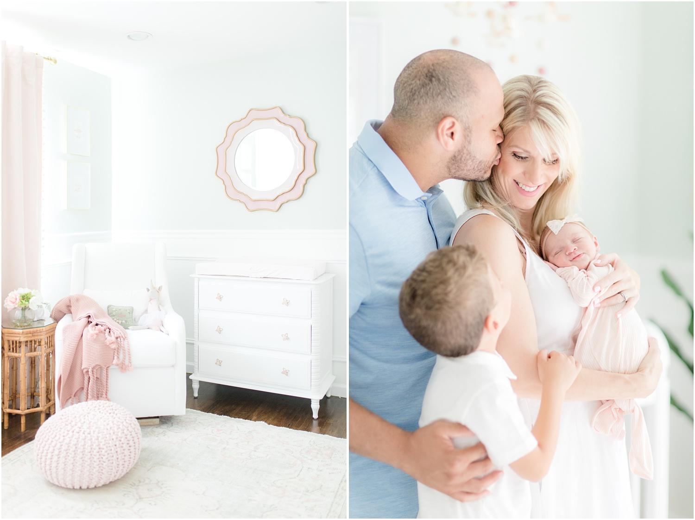 Photos of newborn baby girl's nursery with Sea Salt paint from Sherwin Williams