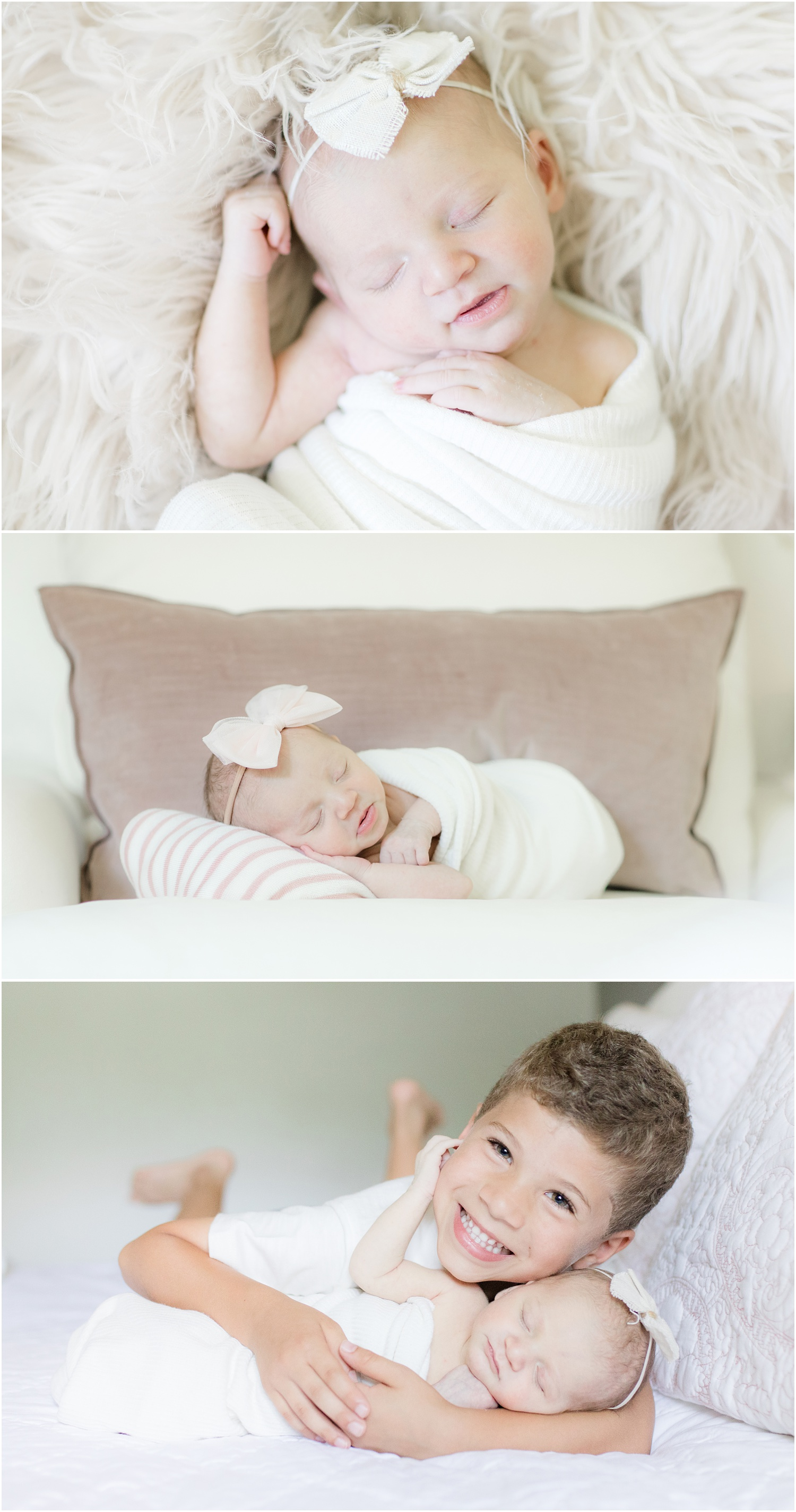 Photo of newborn baby girl and her brother at home in Piscataway, NJ.