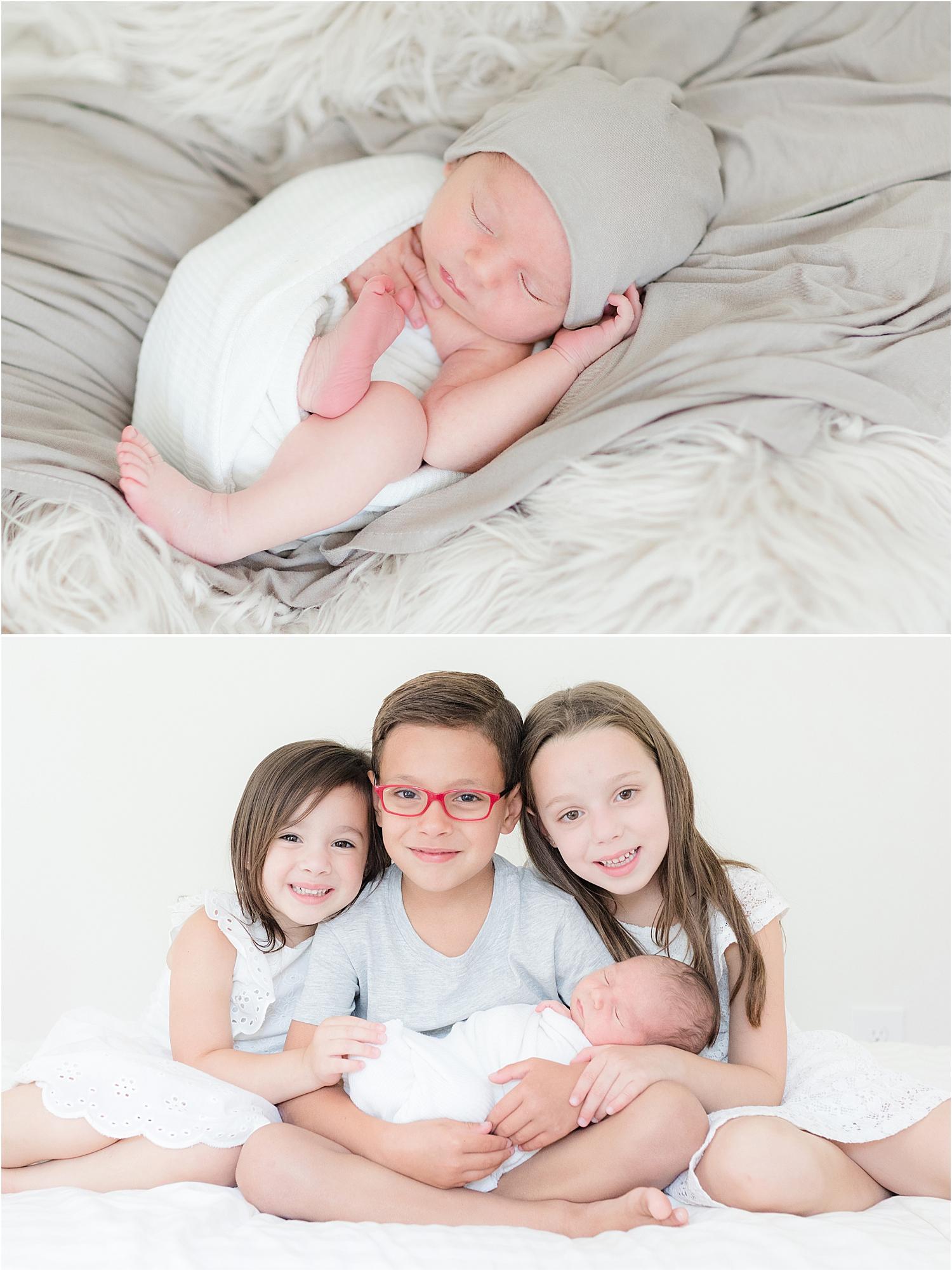natural sibling and newborn photo in nj