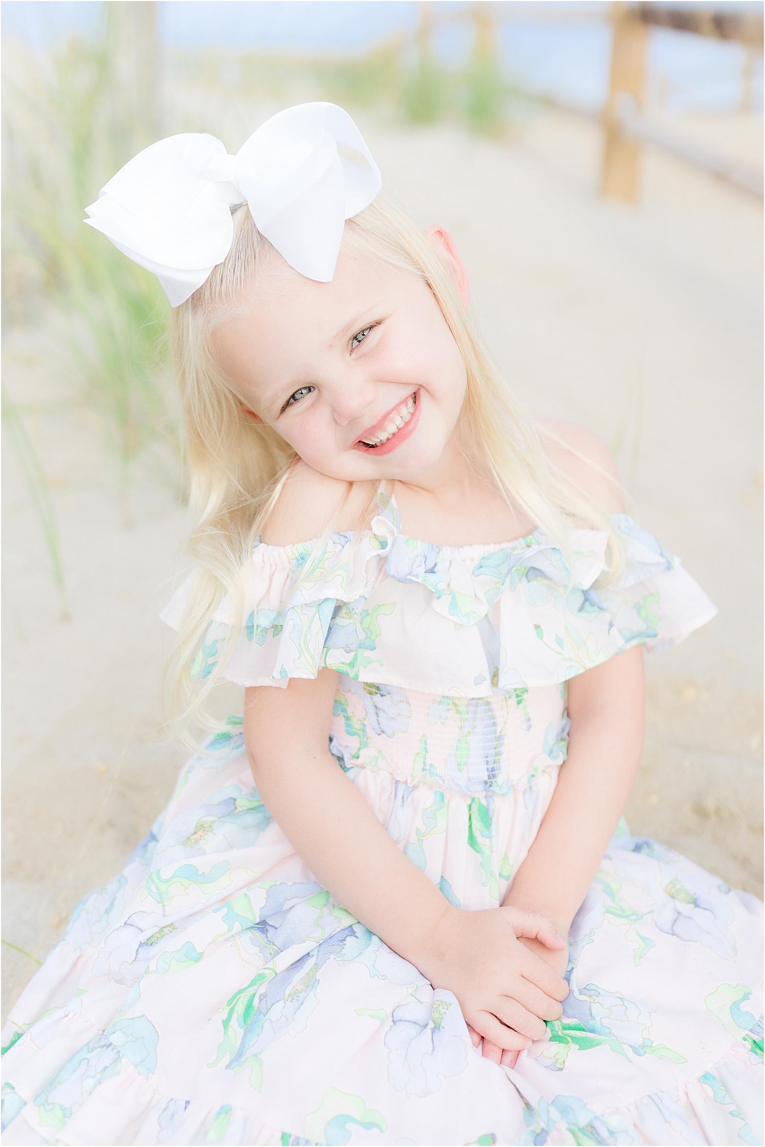 beautiful portrait of little girl on the beach in Lavallette
