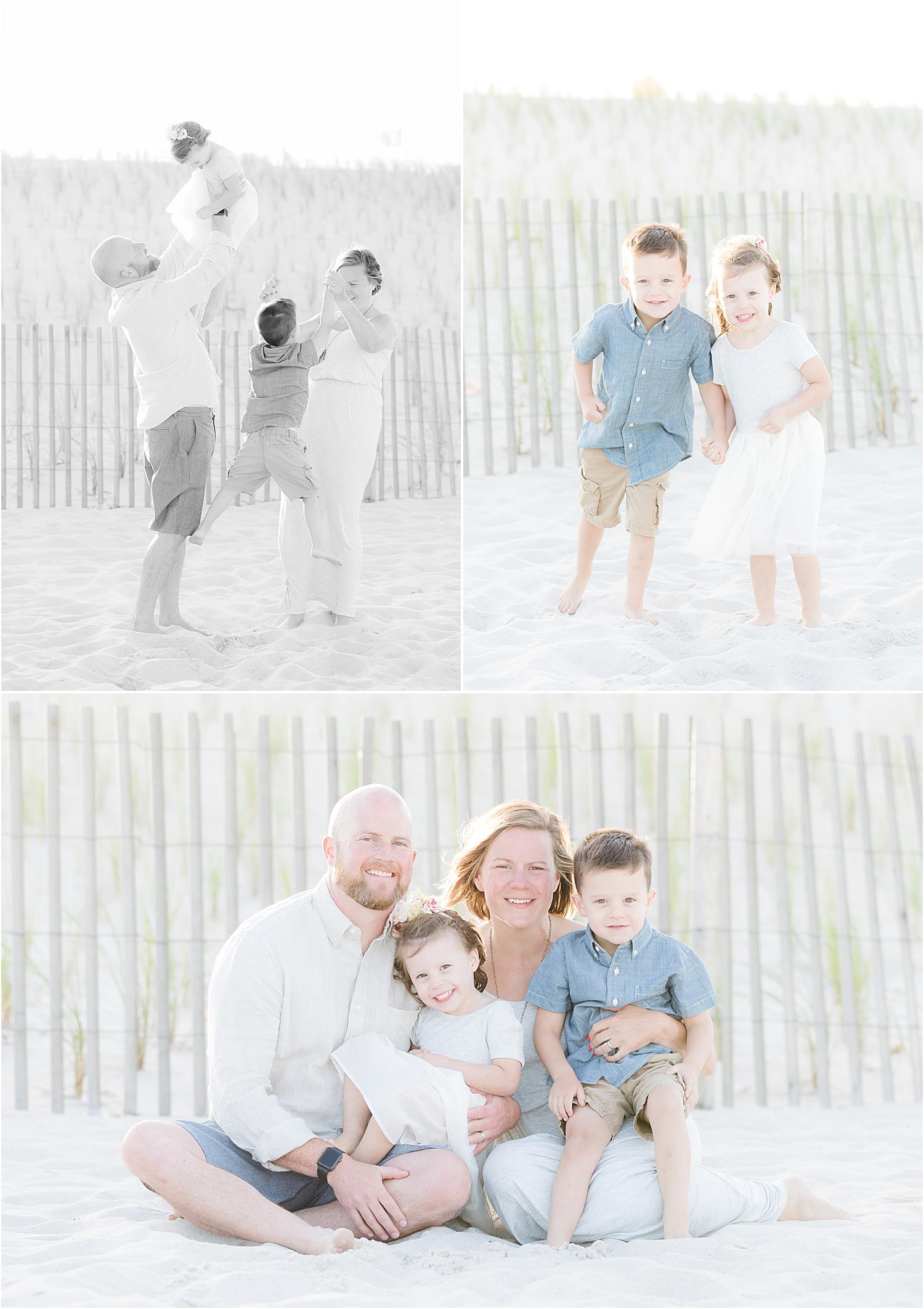 fun family photo in Lavallette NJ on the beach