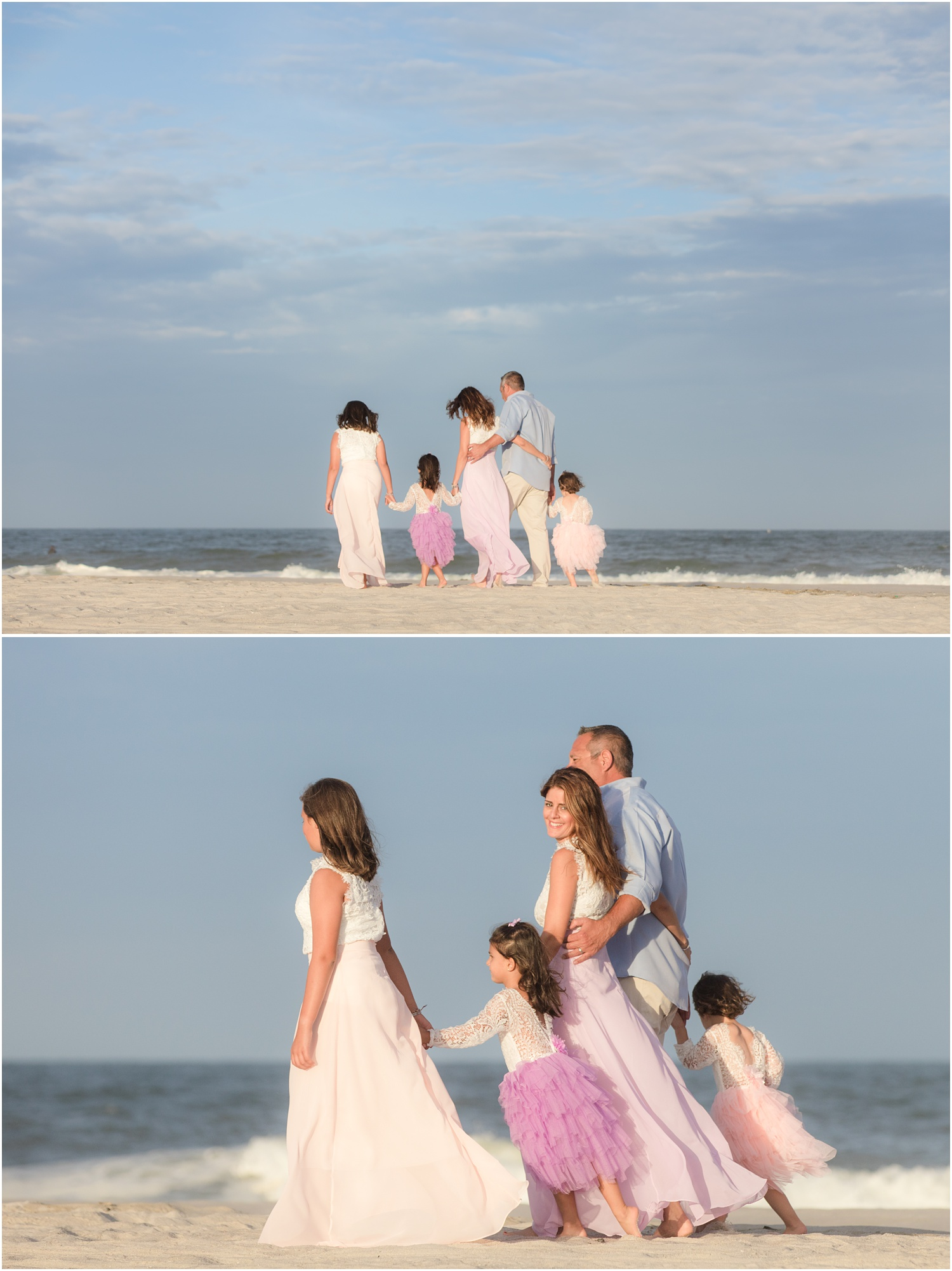 Family Beach photos with tulle dresses.
