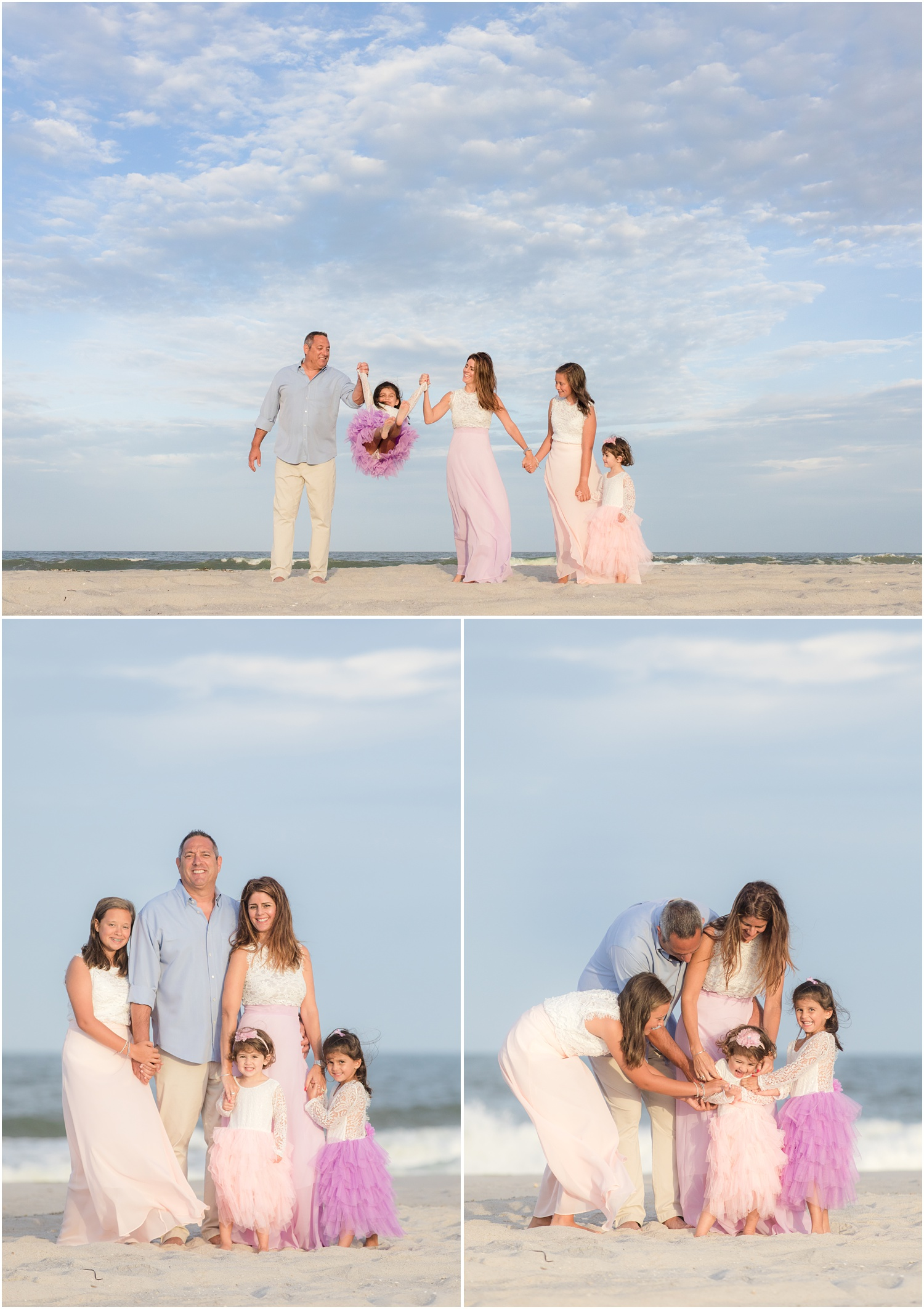 fun Family Beach photos with tulle dresses.