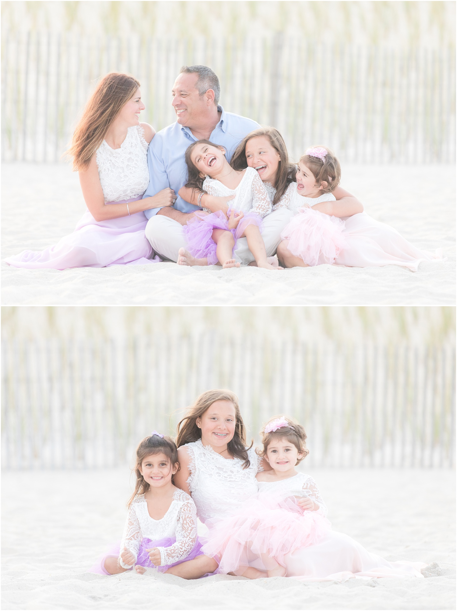 candid Family Beach photos with tulle dresses.