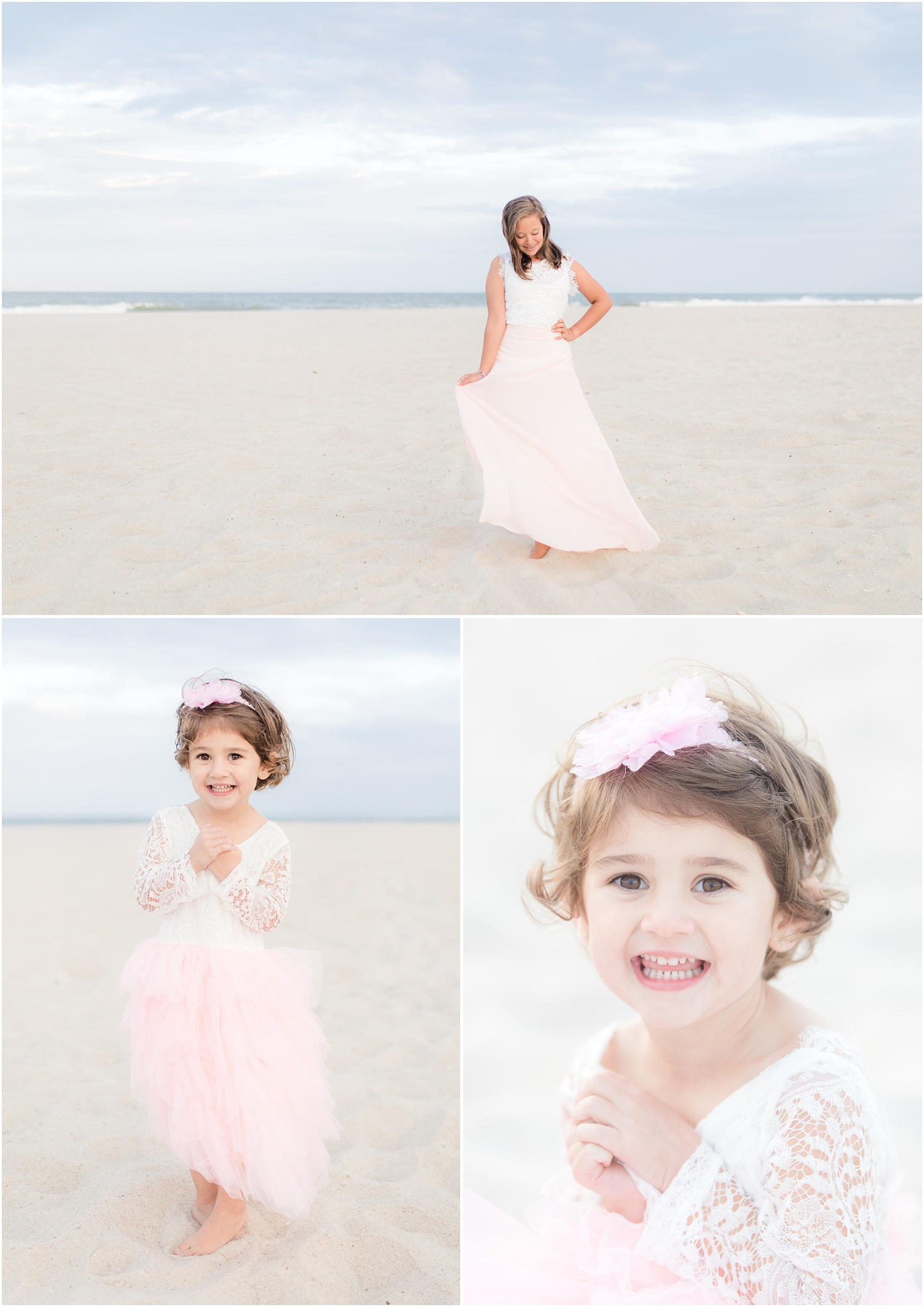 Girly beach photos with tulle dresses.