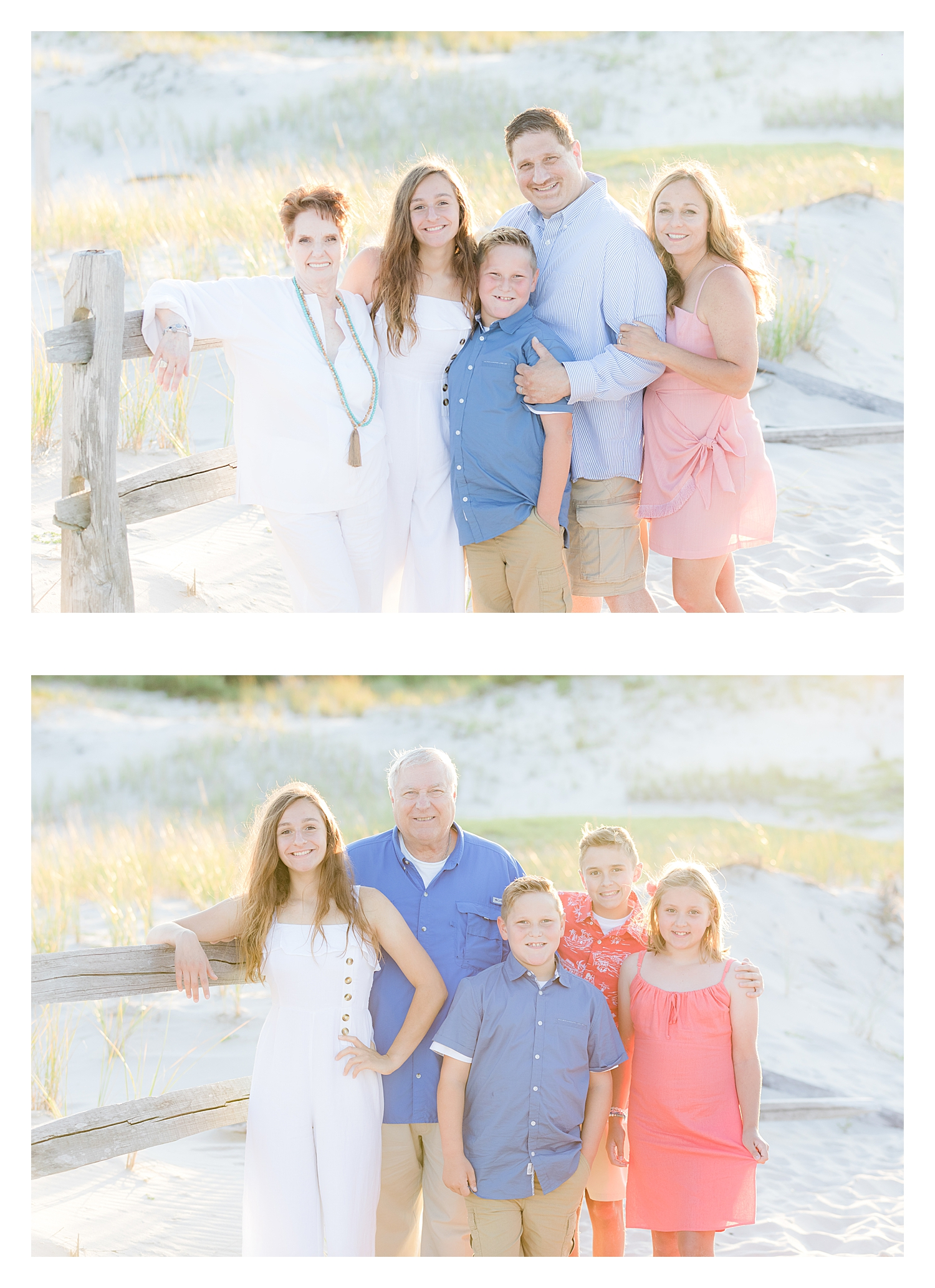 grandparent photo with grandkids at island beach state park nj