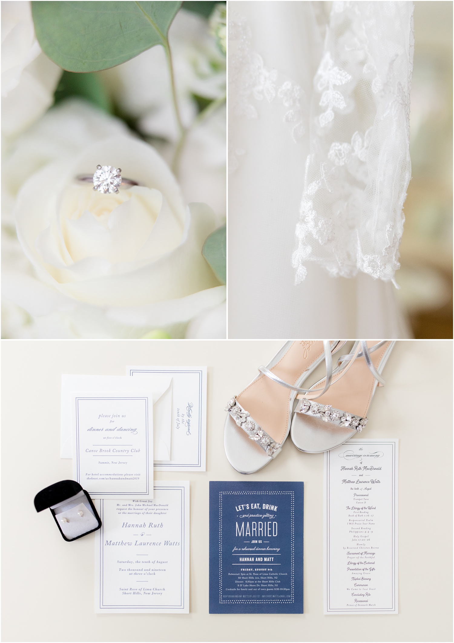 Copy of Wedding rings, wedding dress, and wedding invitations at bride's home in Short Hills, NJ.
