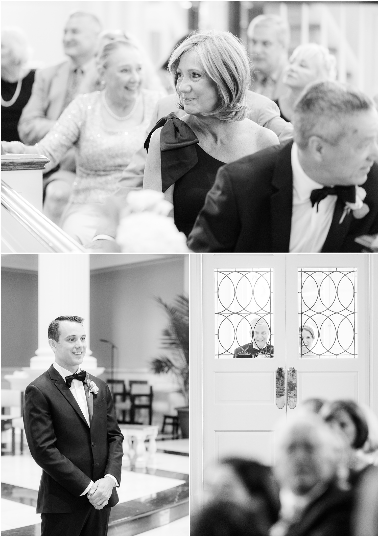 Groom waiting for bride to come down the aisle at St. Rose of Lima in Short Hills, NJ.