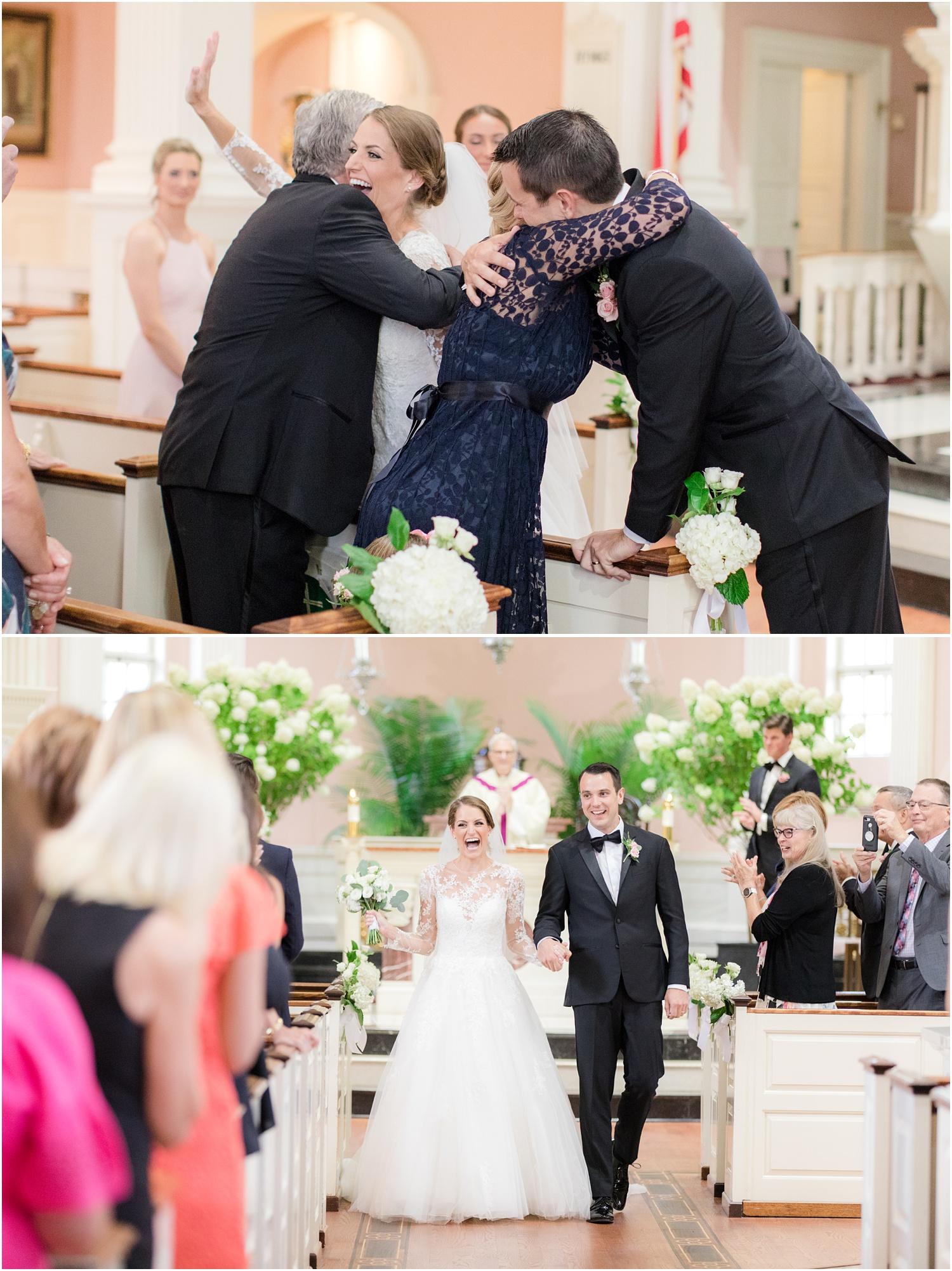 Wedding ceremony exit at St. Rose of Lima in Short Hills, NJ.