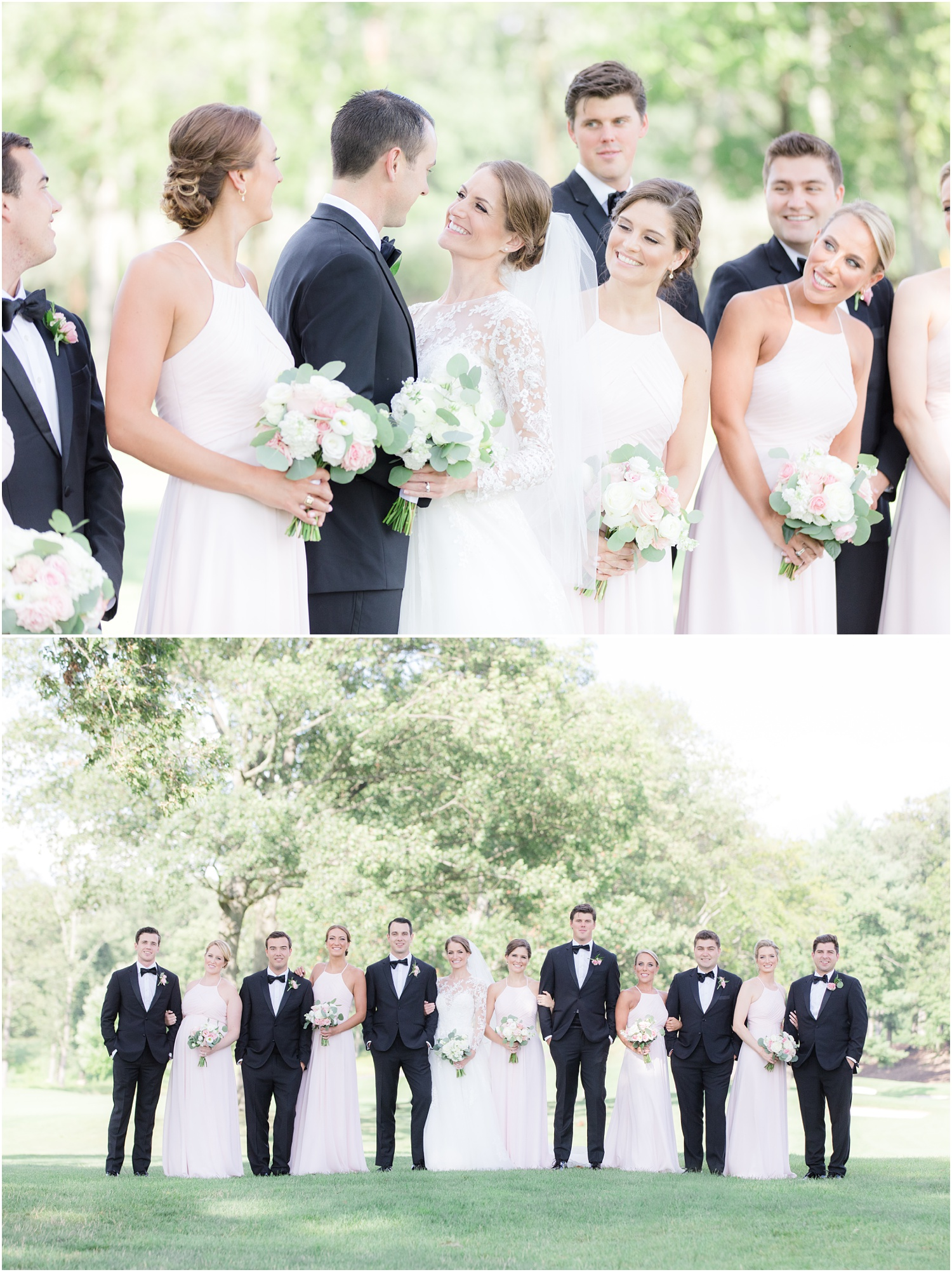 Bridal party photos at Canoe Brook Country Club