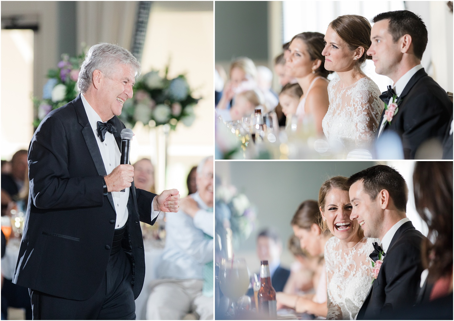 Wedding reception speeches at Canoe Brook Country Club in Summit, NJ.