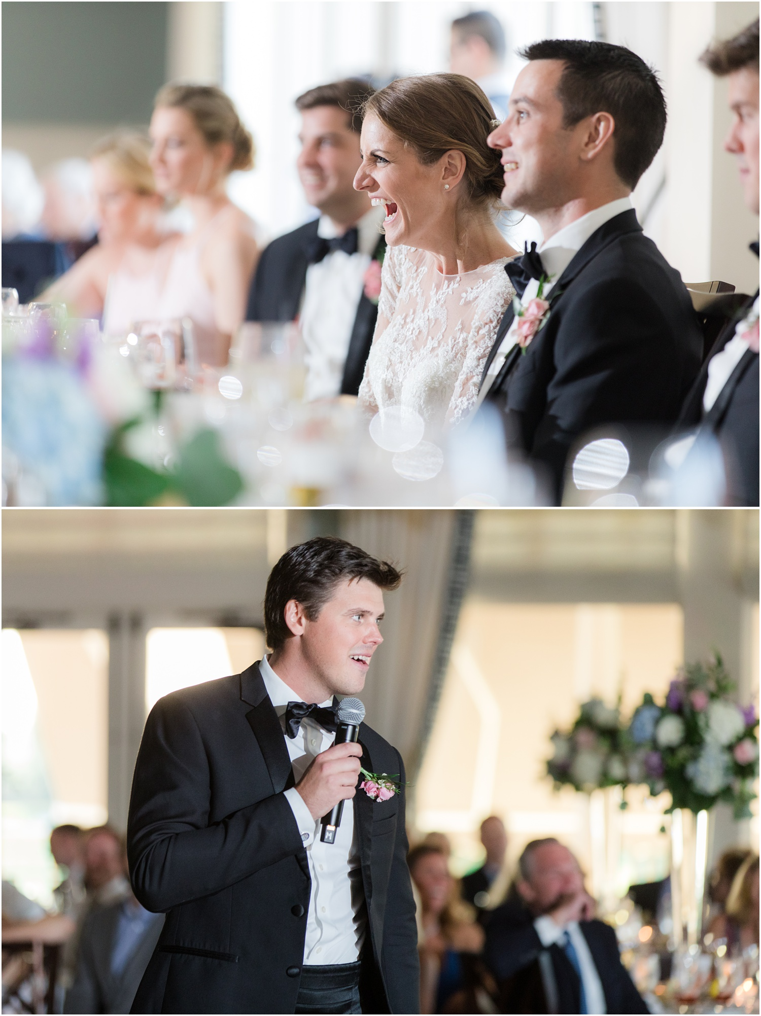 Best man speech at Wedding reception at Canoe Brook Country Club in Summit, NJ.