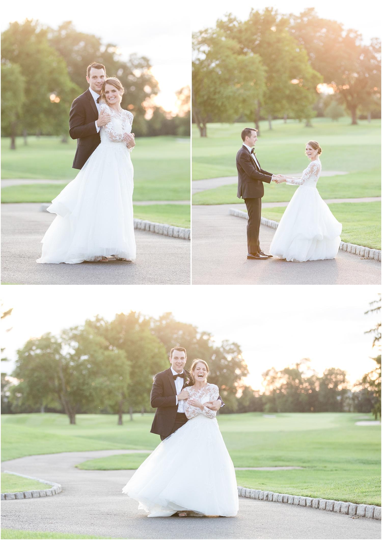 Sunset wedding photos at Canoe Brook Country Club