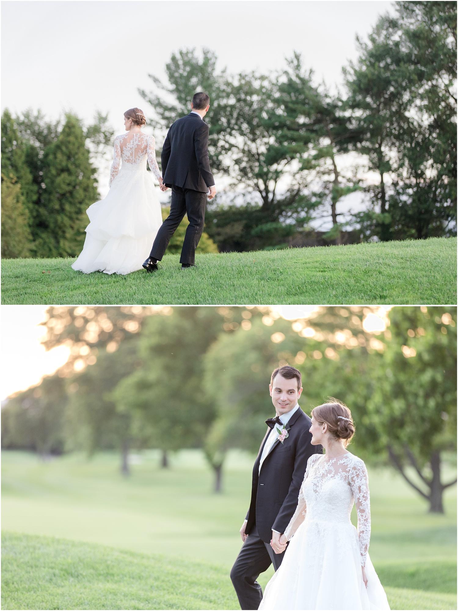 Sunset wedding photos at north nj golf club