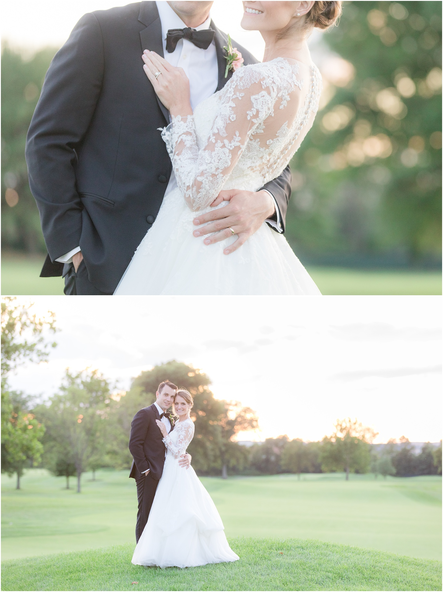 Sunset wedding portaits at Canoe Brook Country Club