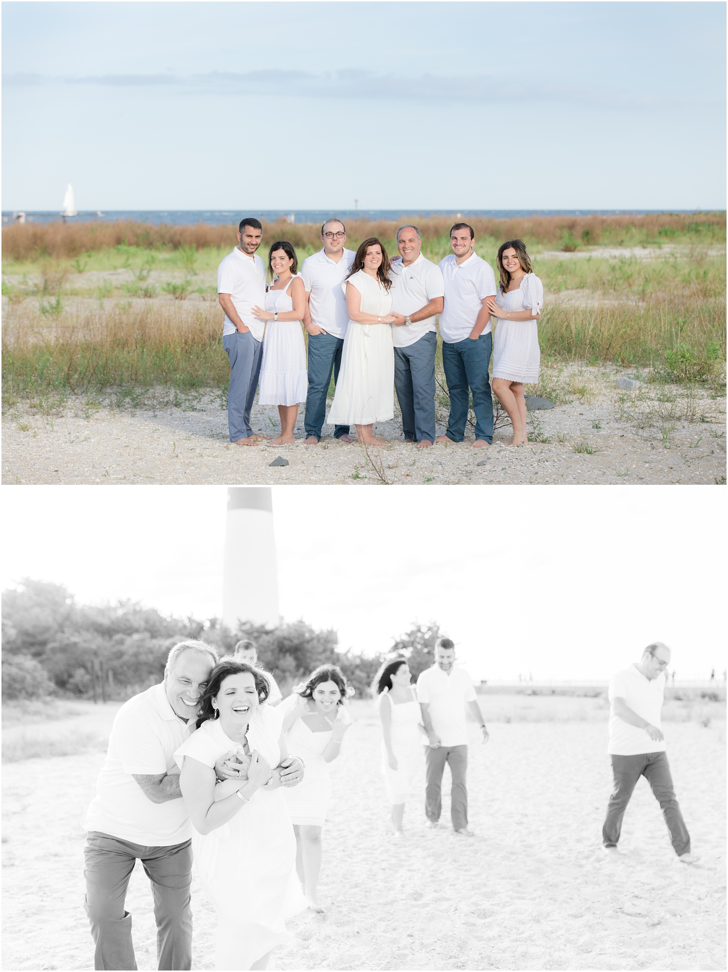 Family photos at Barnegat Lighthouse State Park in LBI