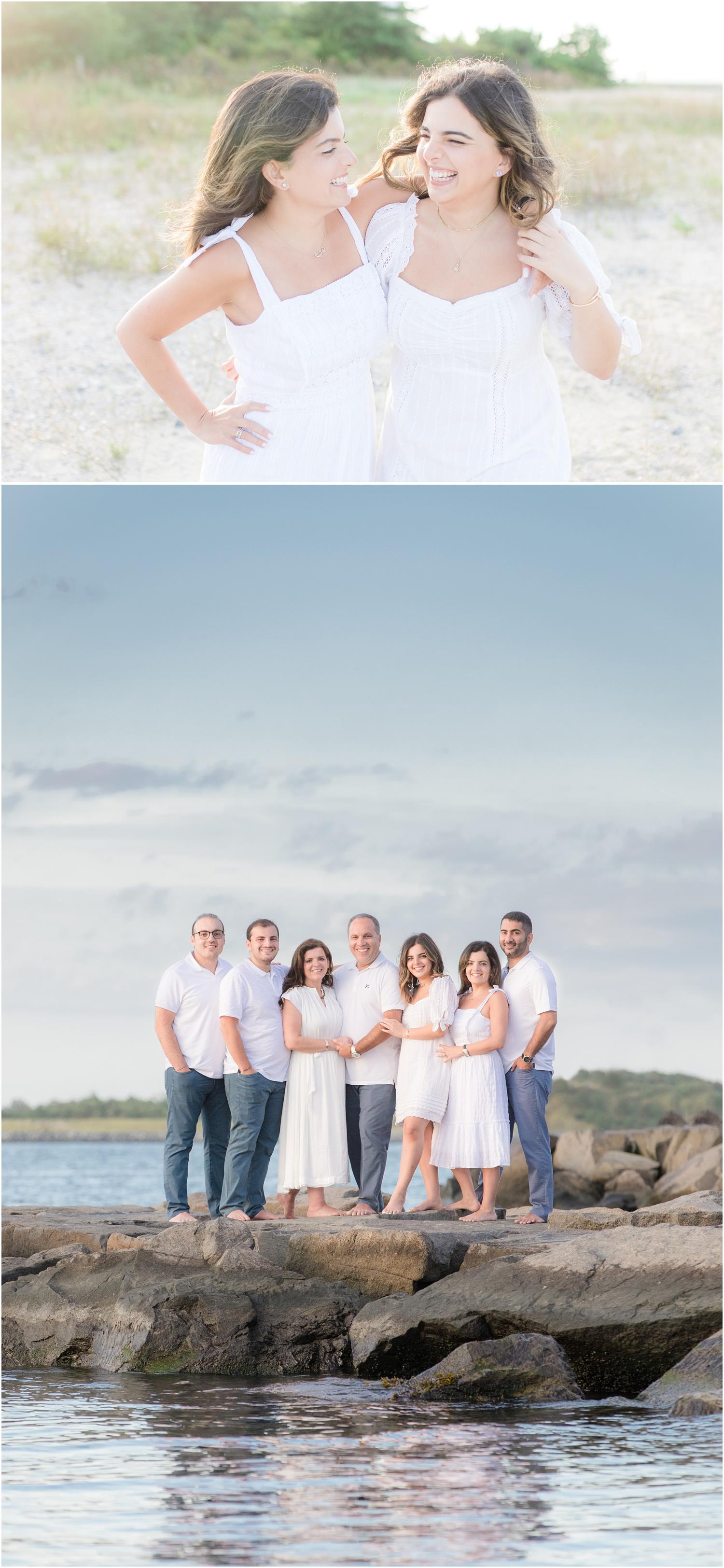 Family photos at the beach on a Jetty in Long Beach Island
