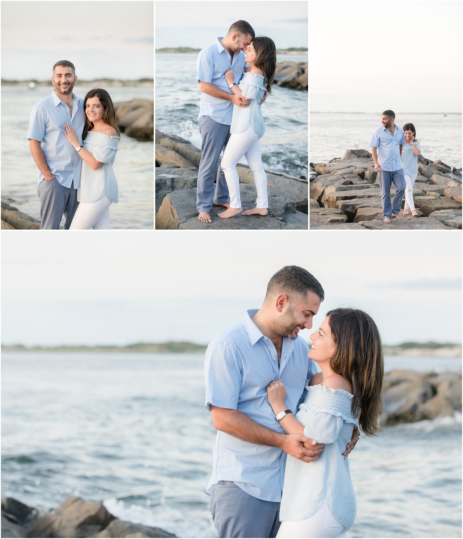 Engagement photos at Barnegat Light in LBI