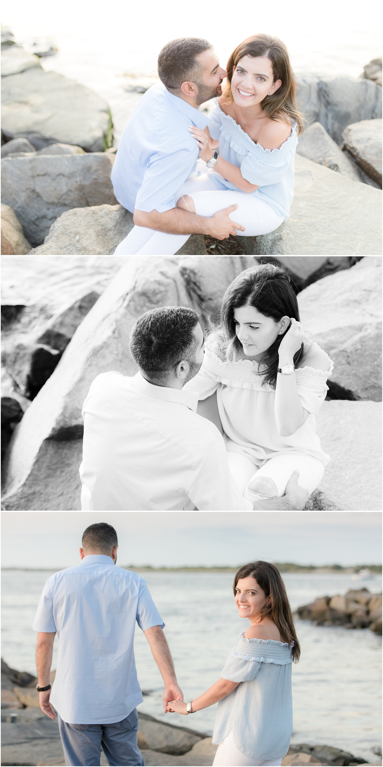 casual engagement photos in Long Beach Island