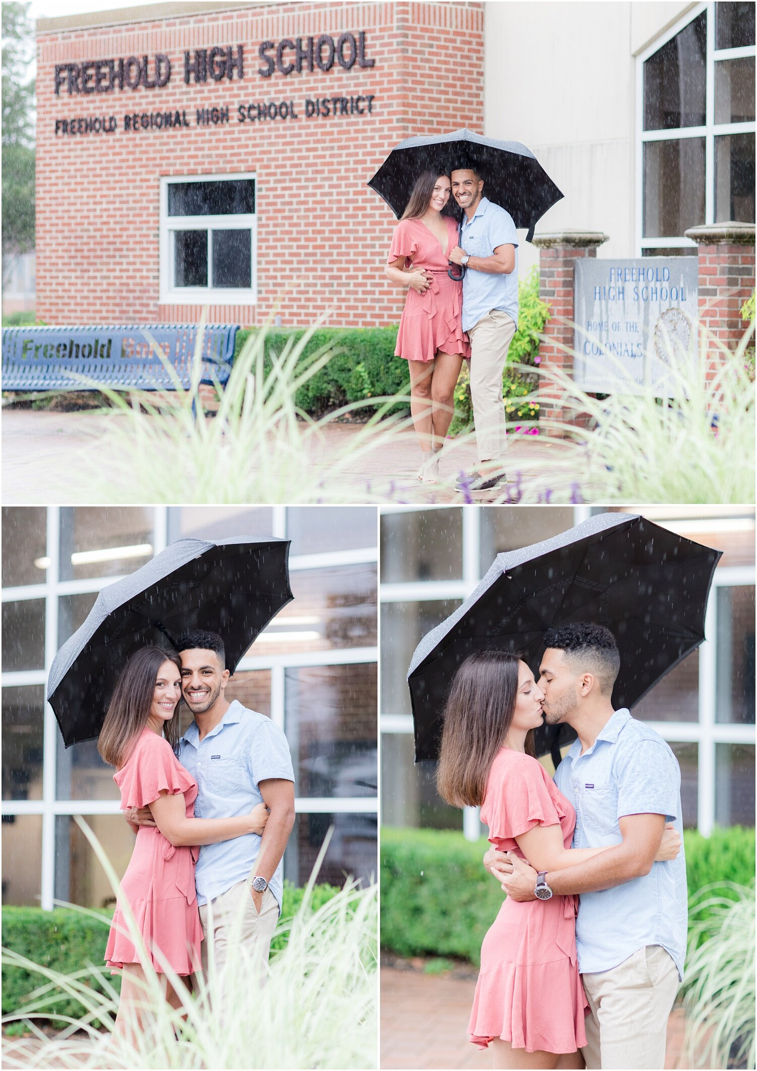 Rainy engagement photos at Freehold high school.