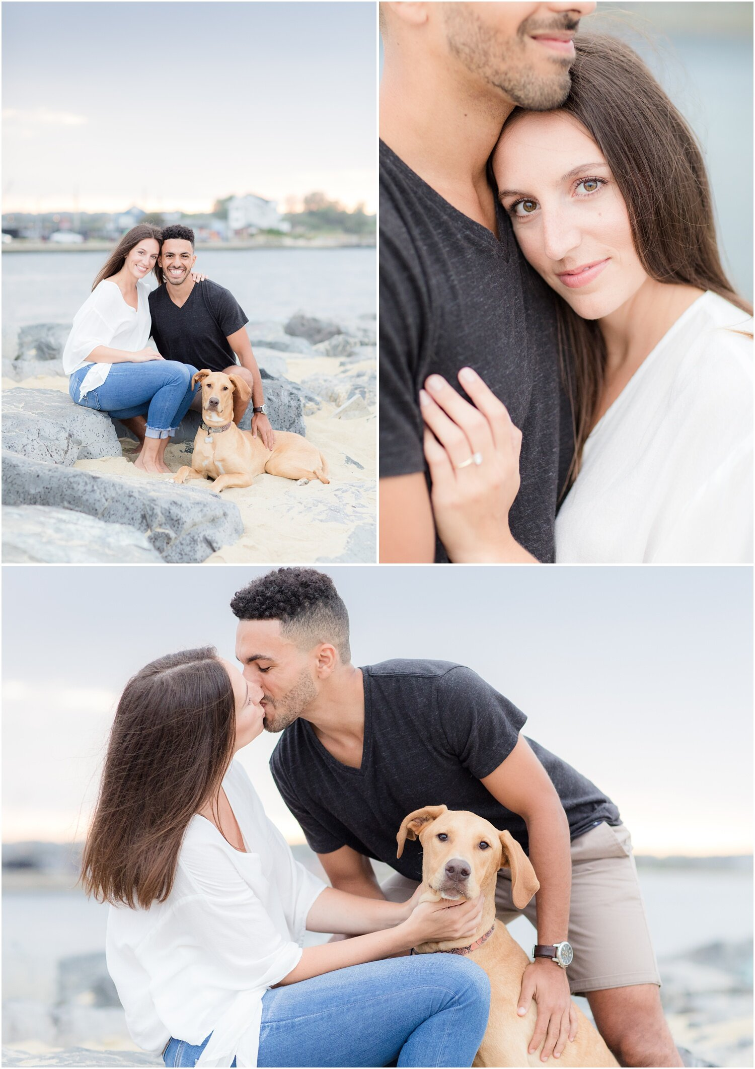 Beach engagement photos with a dog in Manasquan, NJ.